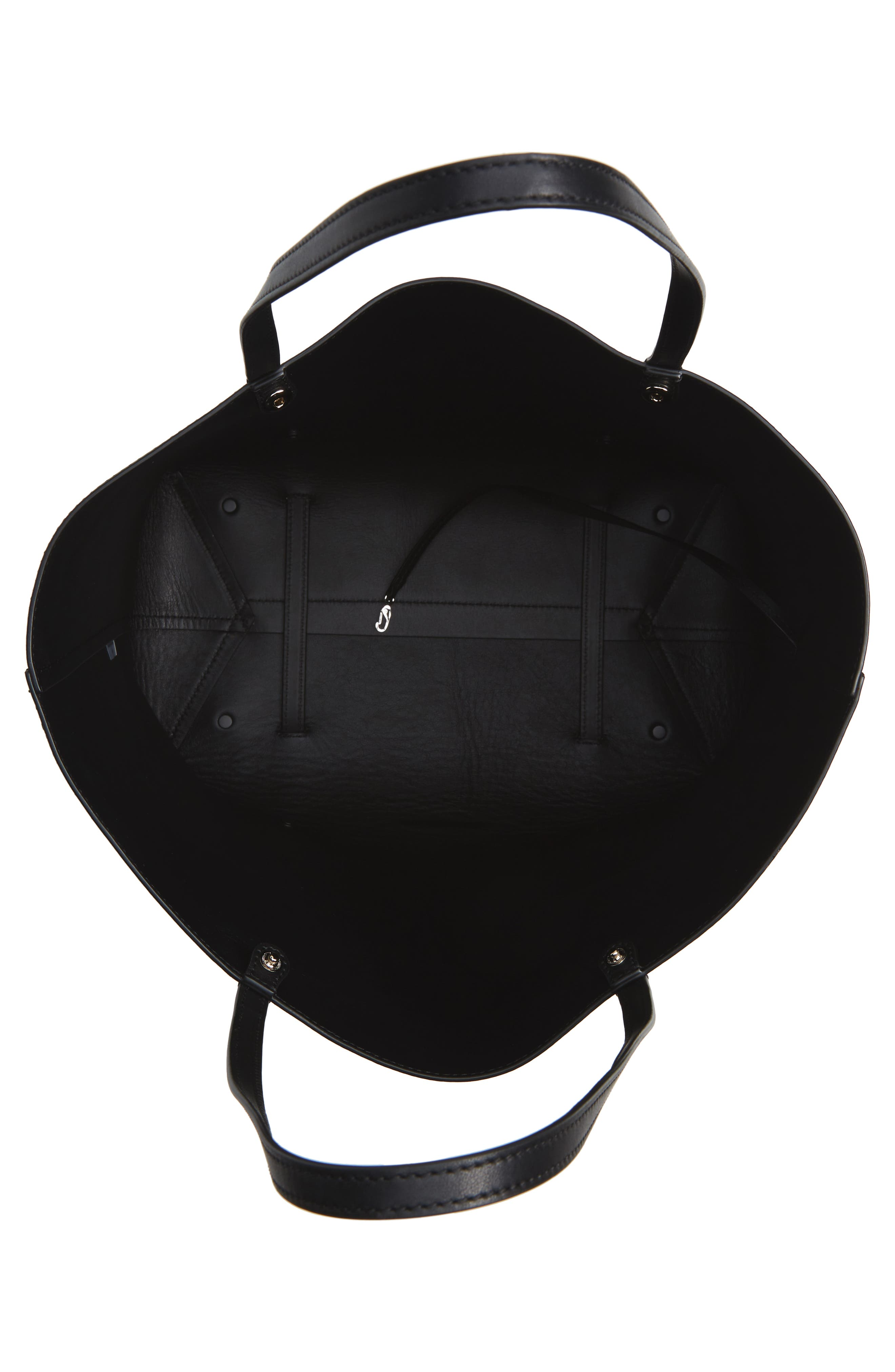 Ace Leather Tote,                             Alternate thumbnail 4, color,                             BLACK