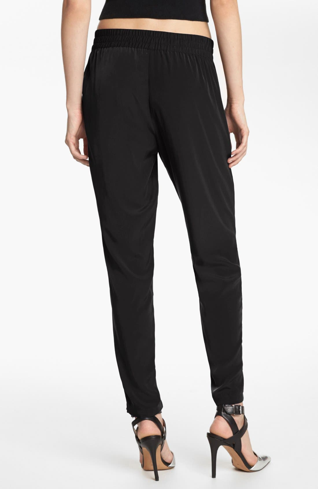 LEITH,                             Woven Zip Cuff Track Pants,                             Alternate thumbnail 4, color,                             001