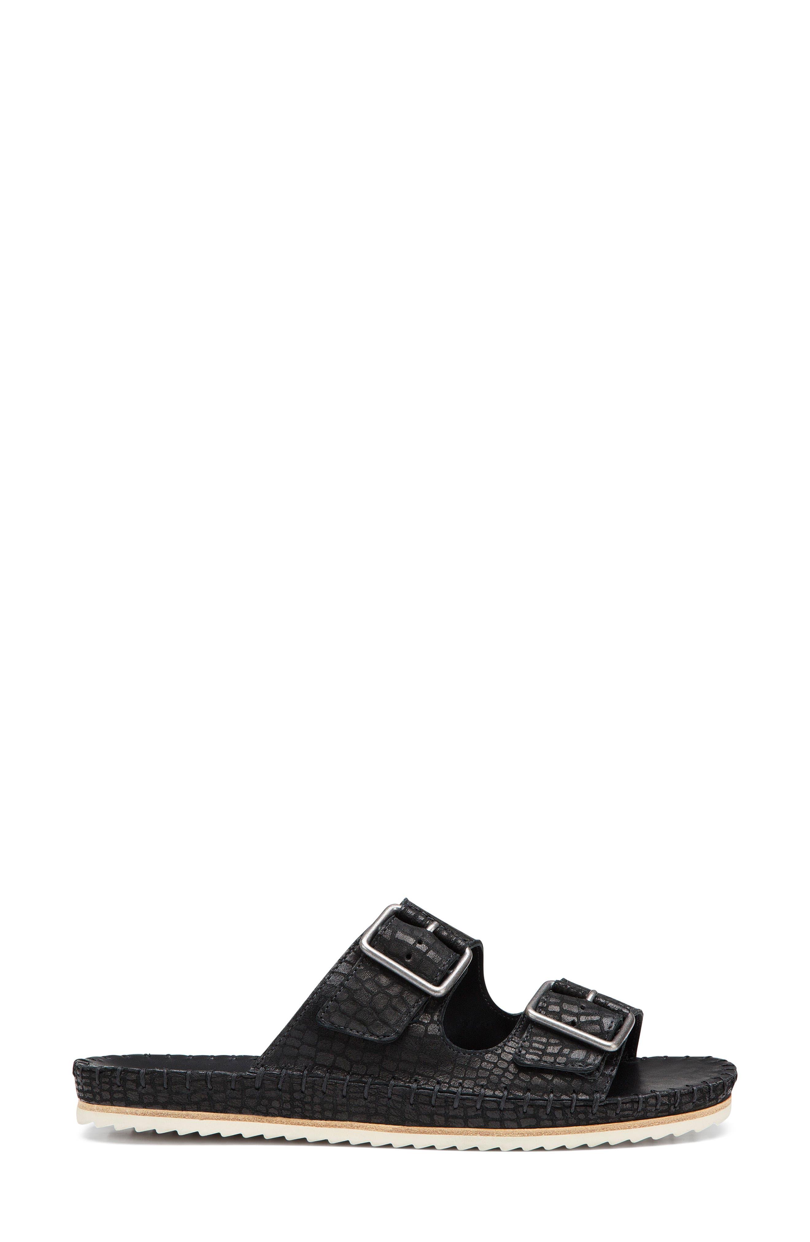 Carli Slide Sandal,                             Alternate thumbnail 3, color,                             BLACK EMBOSSED LEATHER