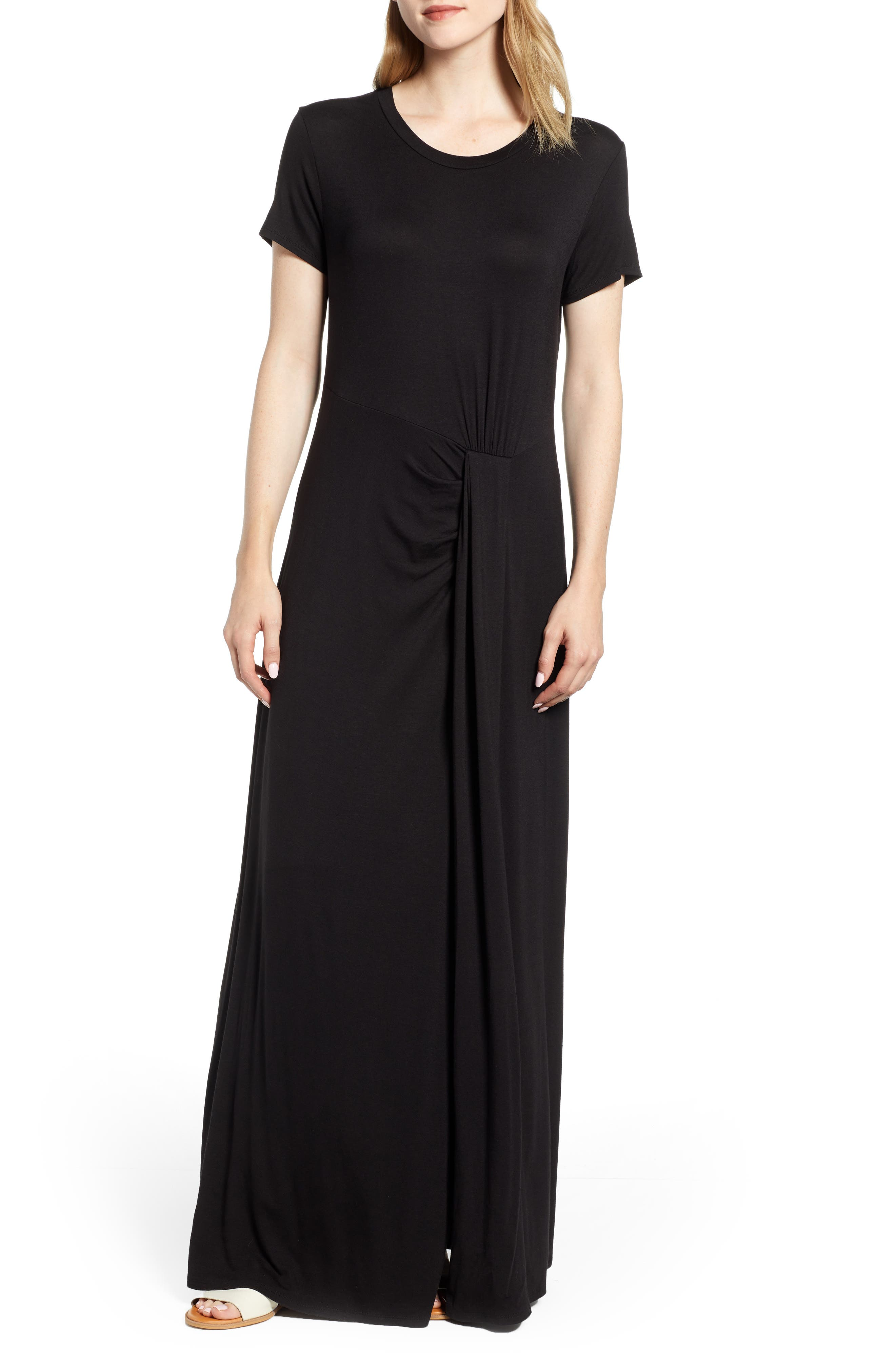 CASLON<SUP>®</SUP> Front Gathered Maxi Dress, Main, color, BLACK