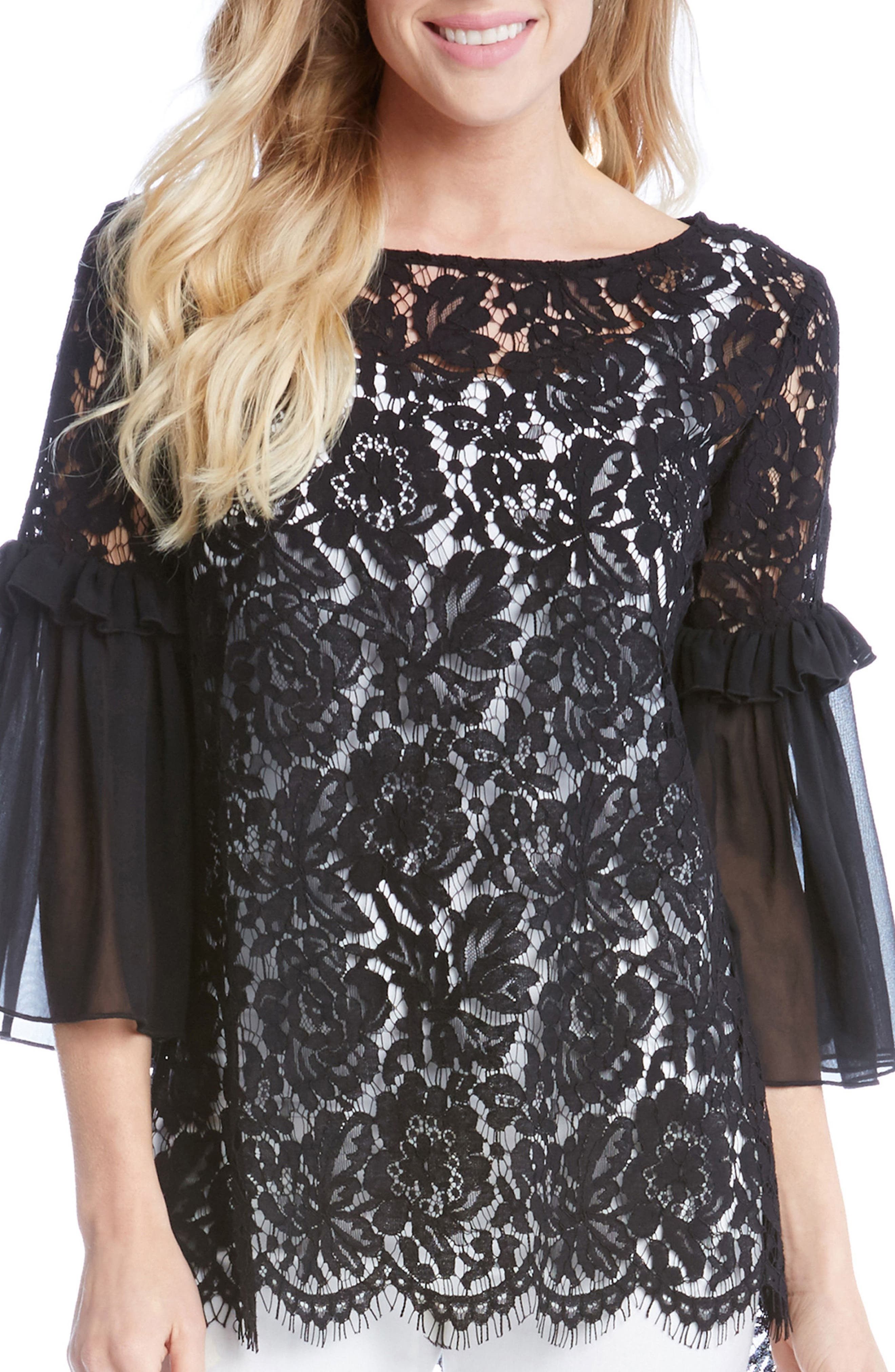 Ruffle Sleeve Lace Top,                         Main,                         color, 001