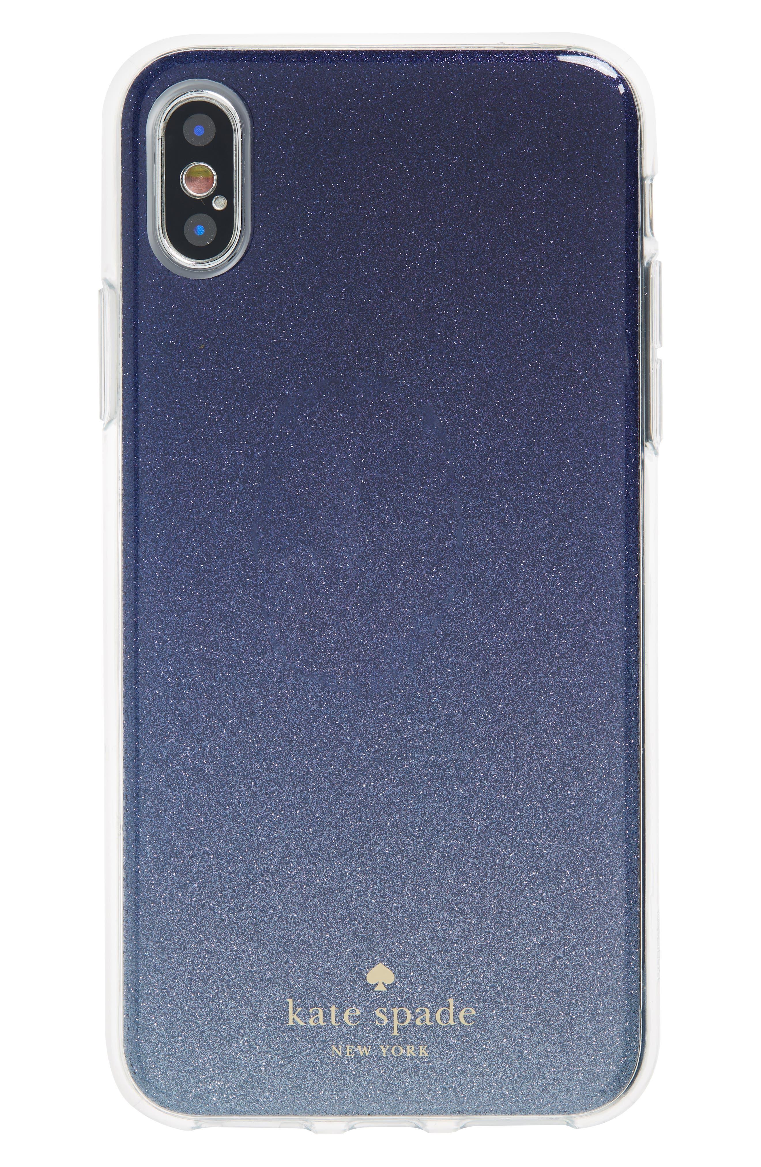 glitter ombré iPhone X/Xs case,                         Main,                         color, BLUE MULTI