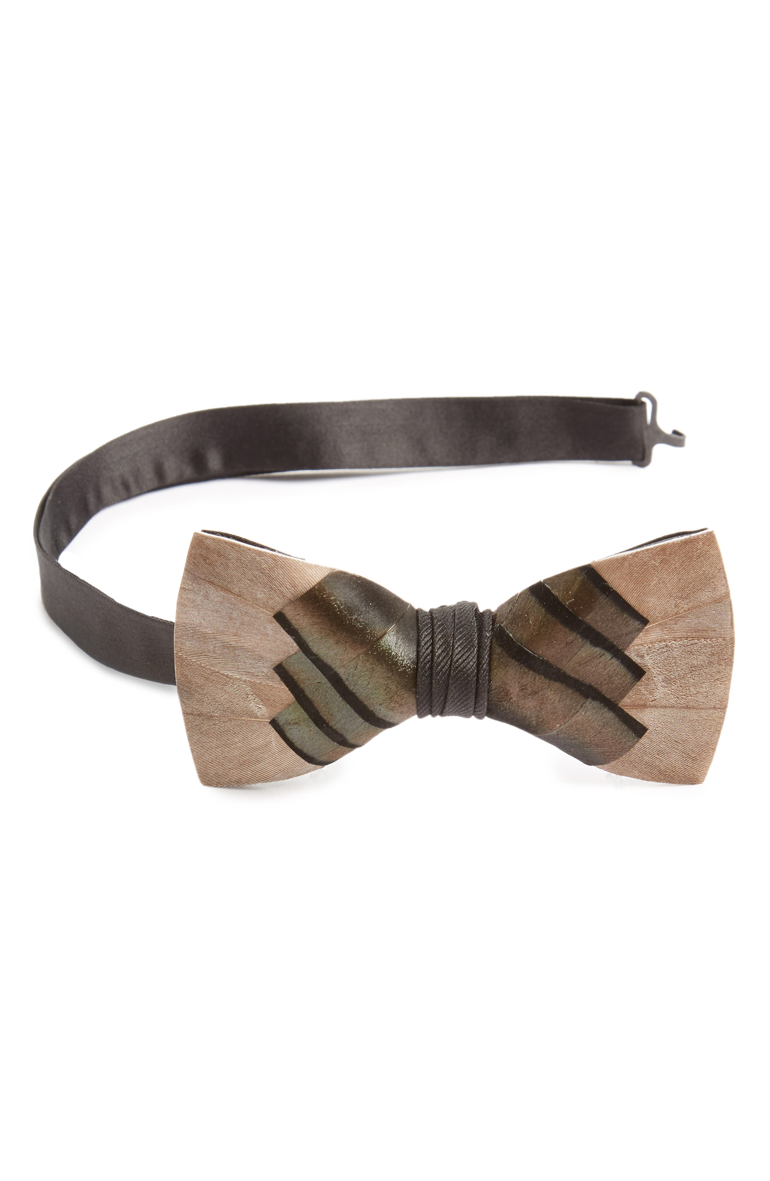 Pawley Feather Bow Tie,                             Main thumbnail 1, color,                             020