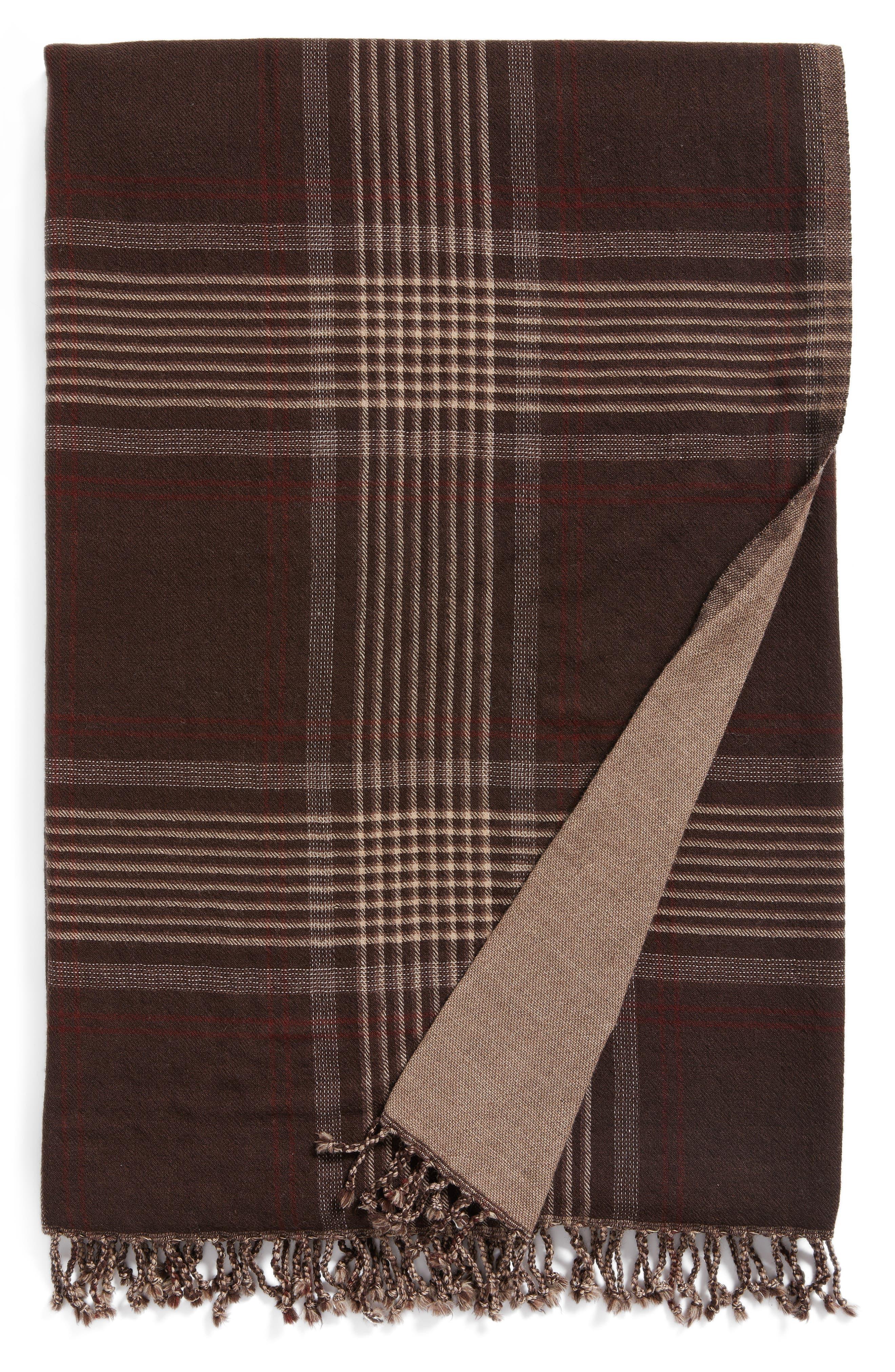 Plaid Double Face Merino Wool Throw,                             Main thumbnail 1, color,                             BROWN SHADOW STRIPE PLAID
