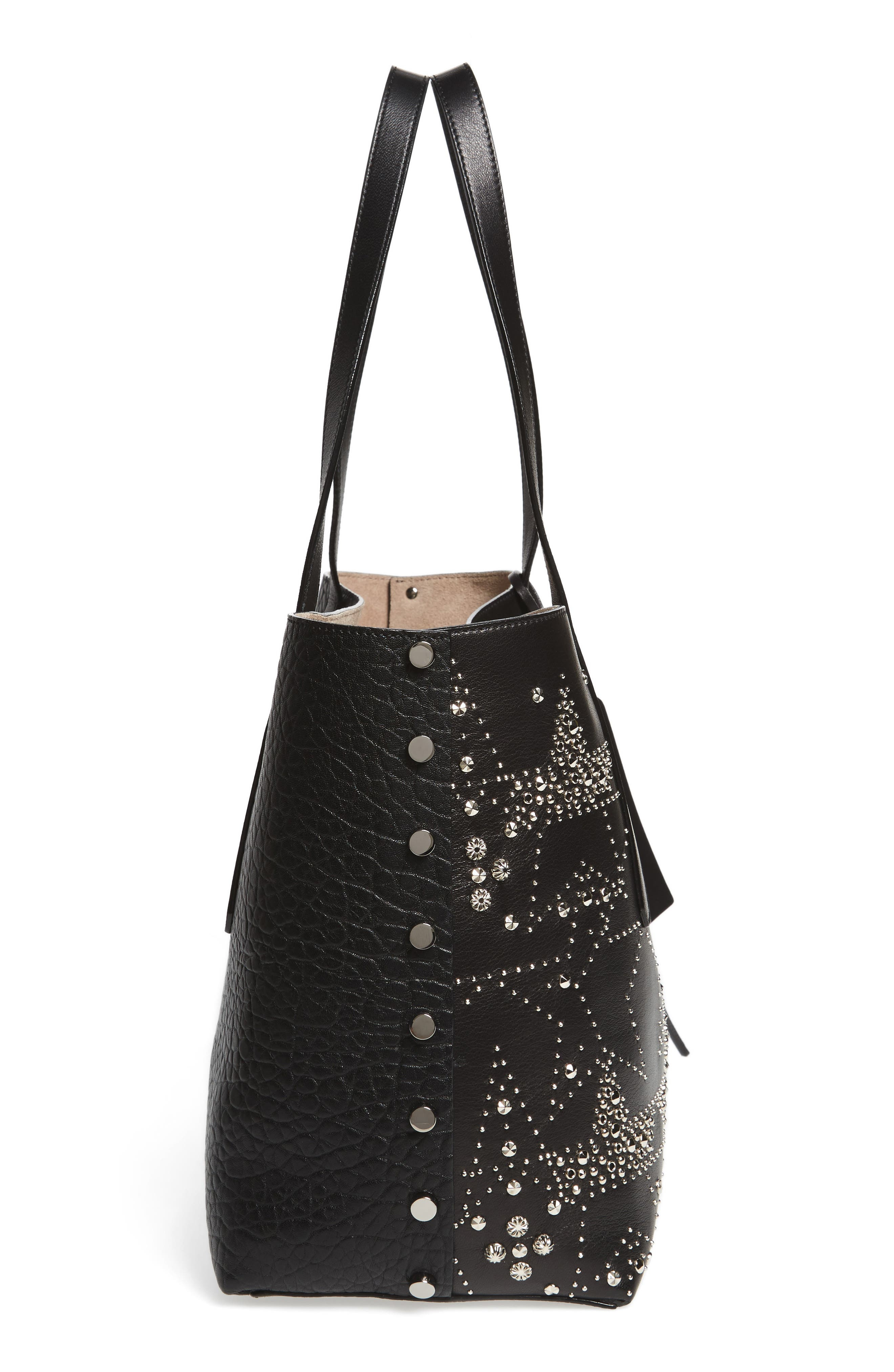 Twist East West Leather Tote,                             Alternate thumbnail 5, color,                             001