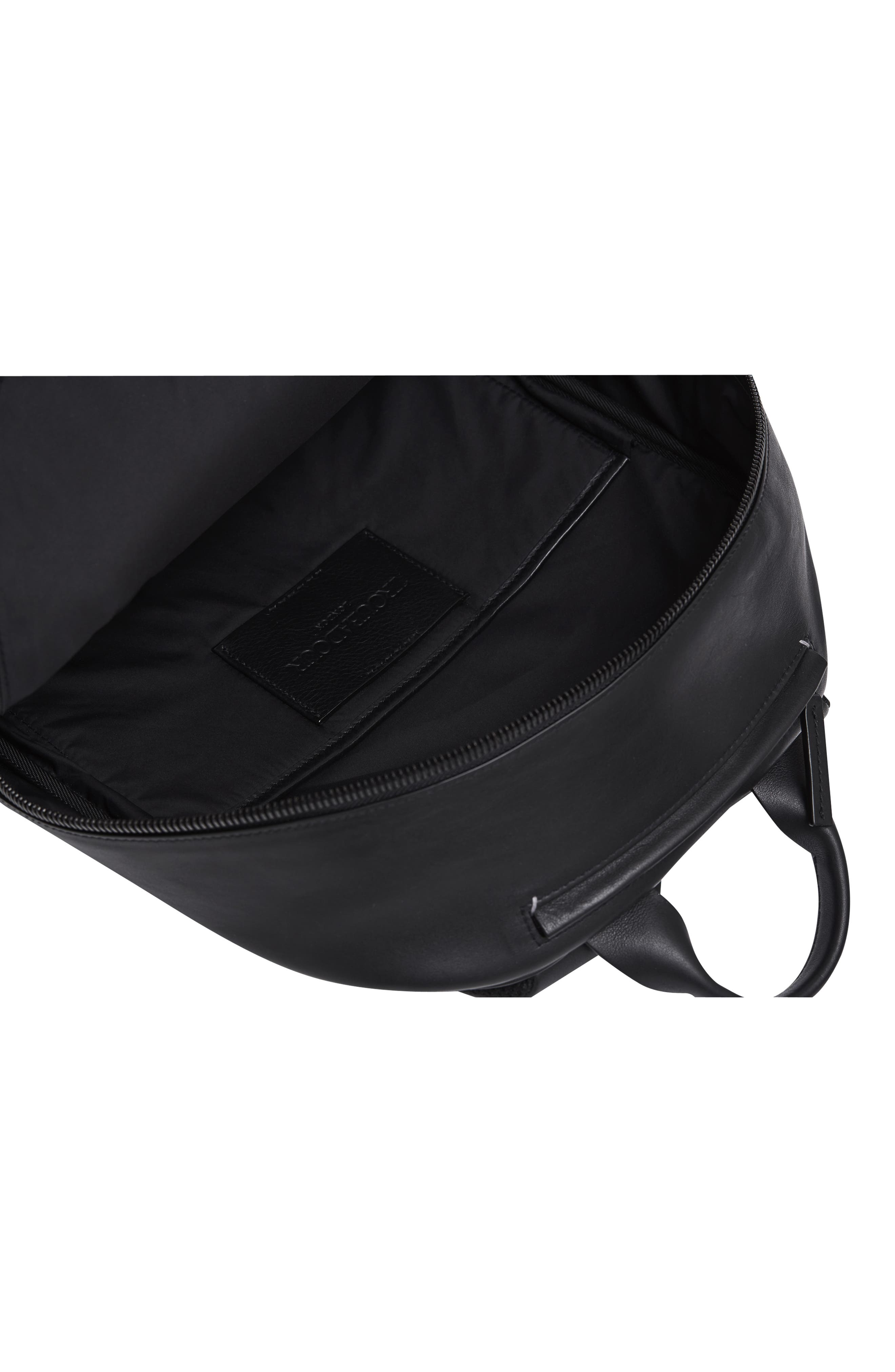 Leather Backpack,                             Alternate thumbnail 4, color,                             BLACK LEATHER
