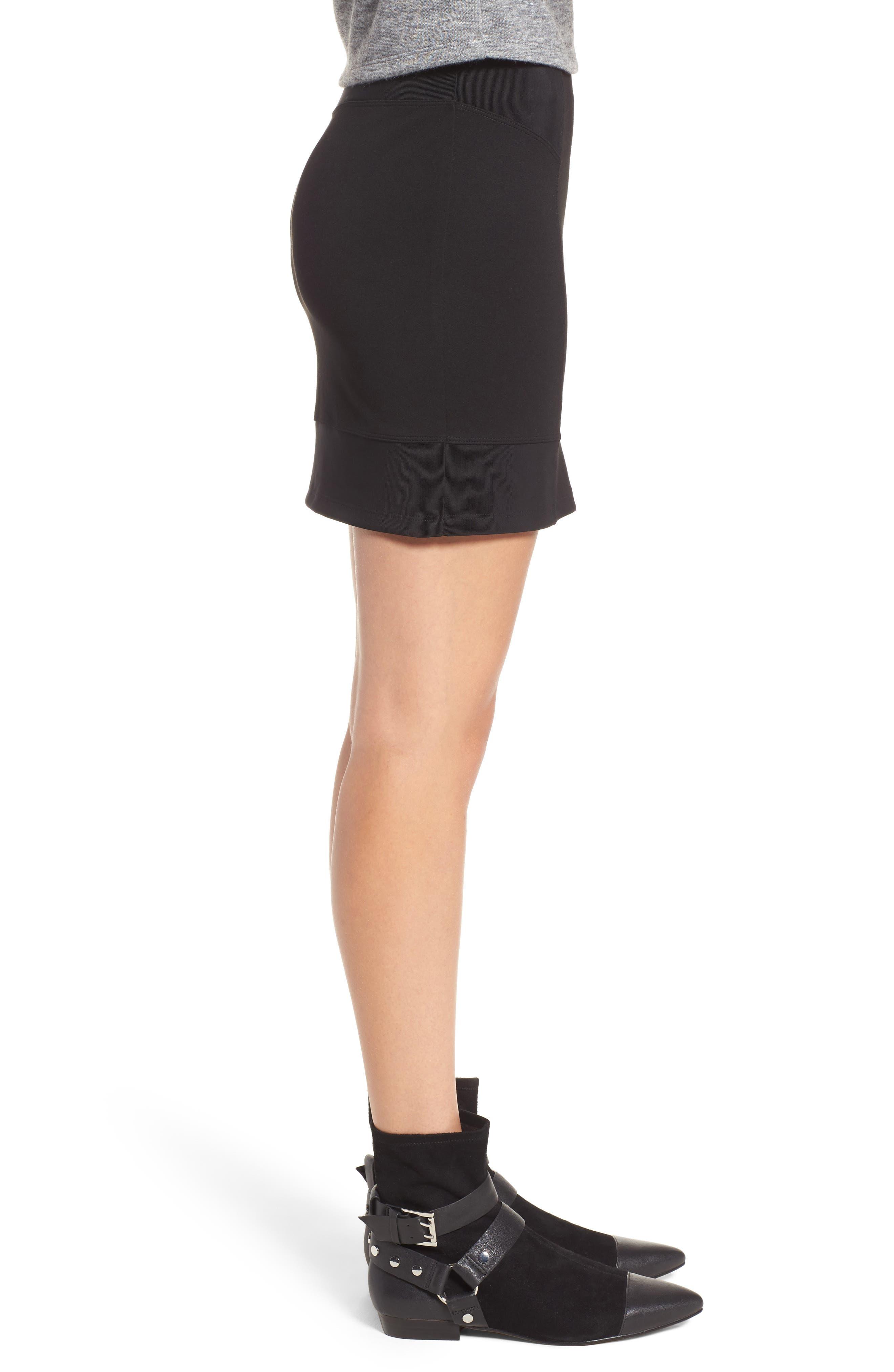 Ribbed Miniskirt,                             Alternate thumbnail 3, color,                             001