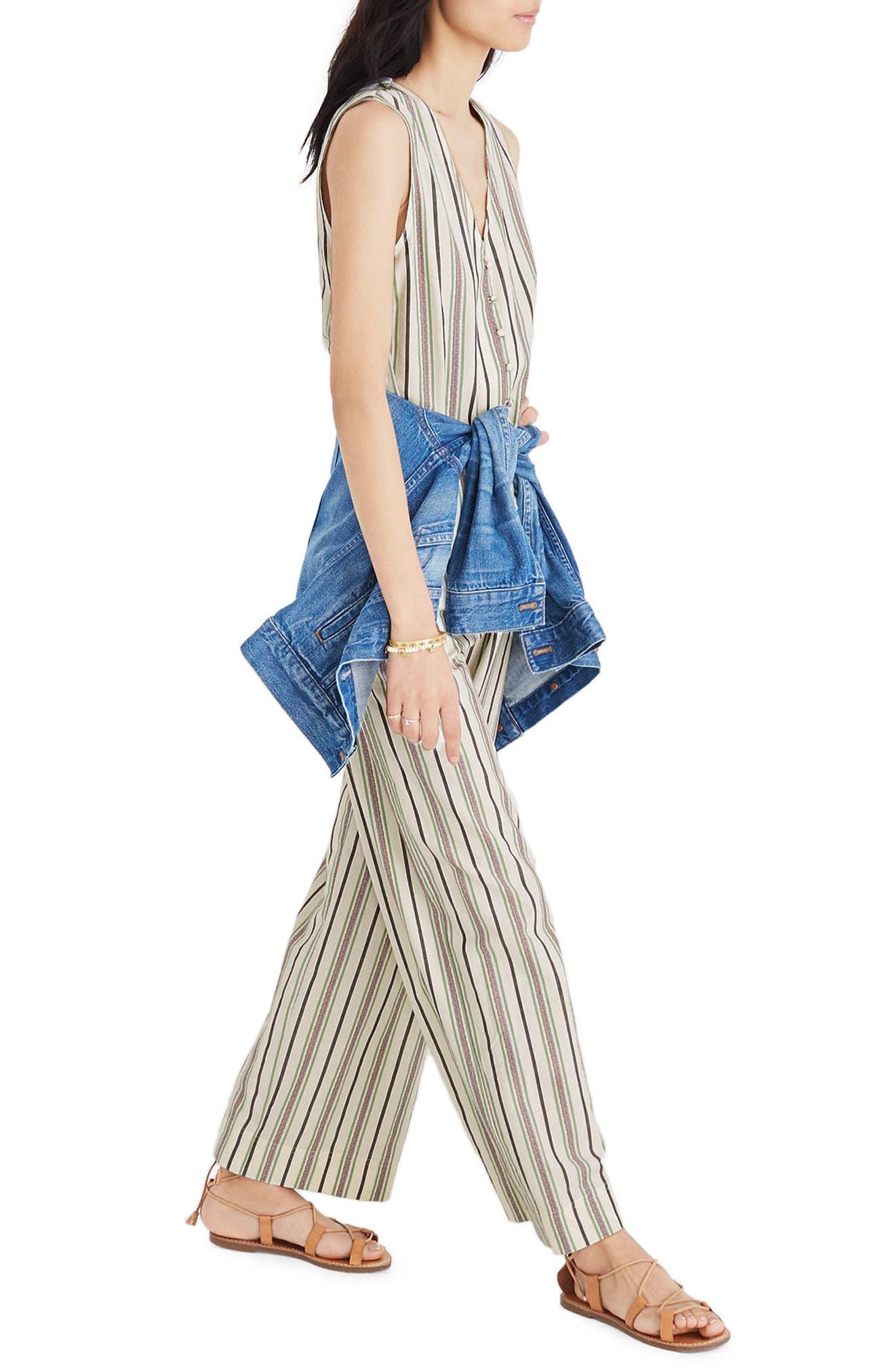 Stripe Button Down Jumpsuit,                             Alternate thumbnail 3, color,                             250