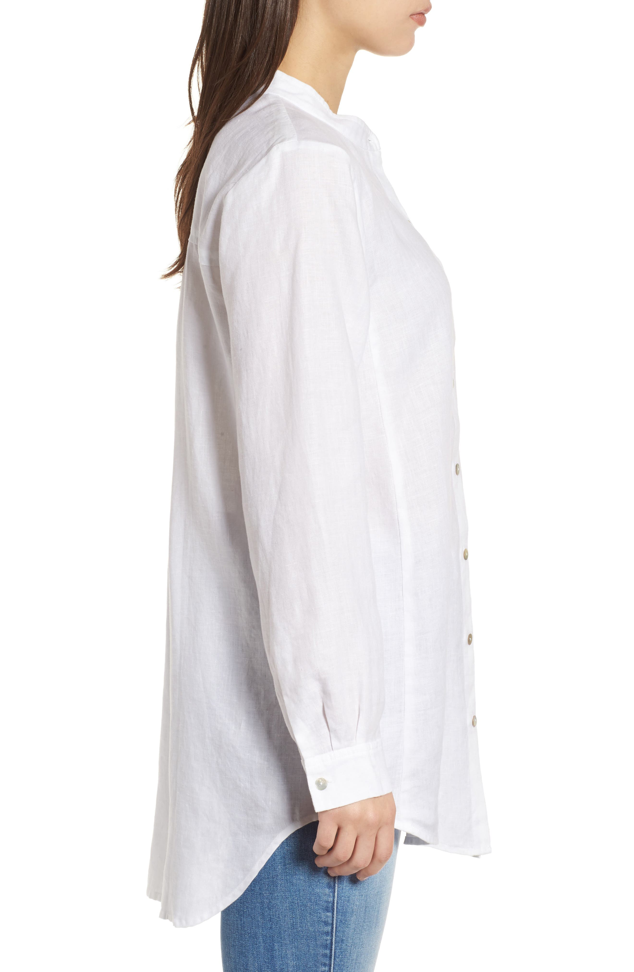 Organic Linen Tunic Shirt,                             Alternate thumbnail 3, color,                             100
