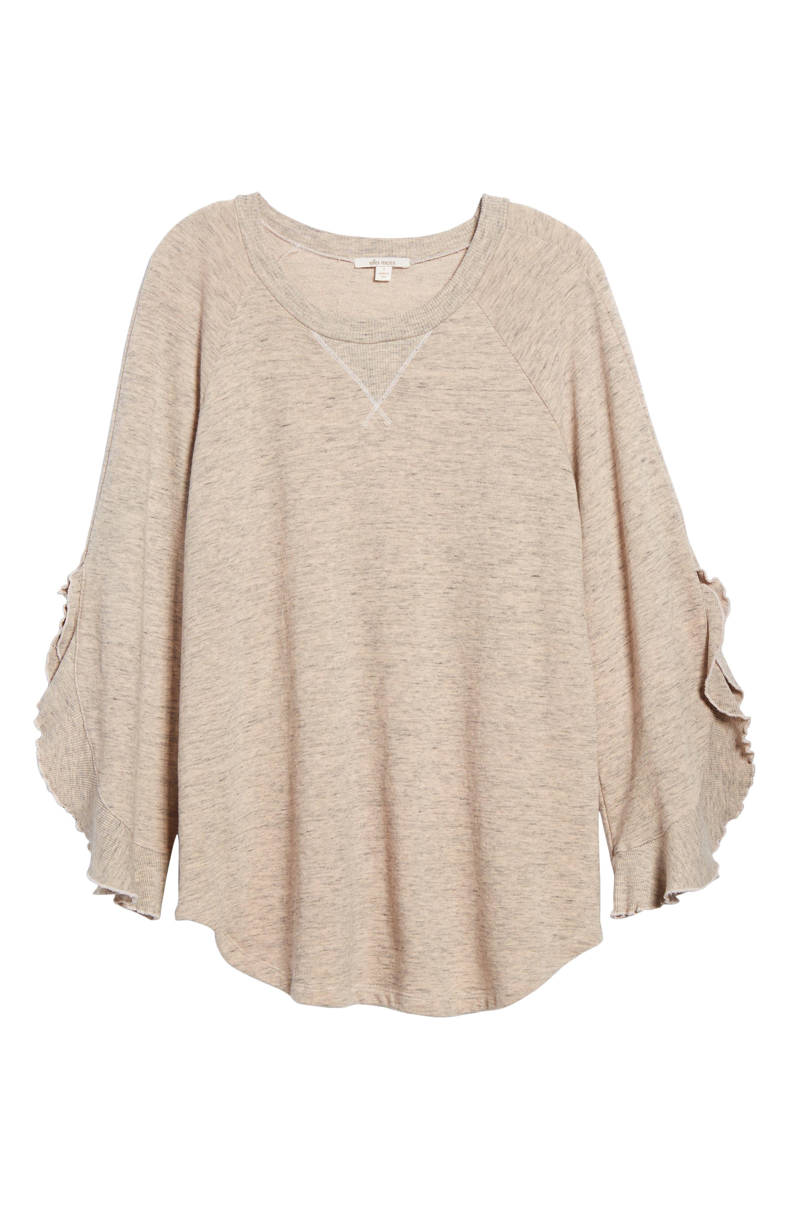 Ruffle Split Sleeve Cotton Sweatshirt,                             Alternate thumbnail 12, color,