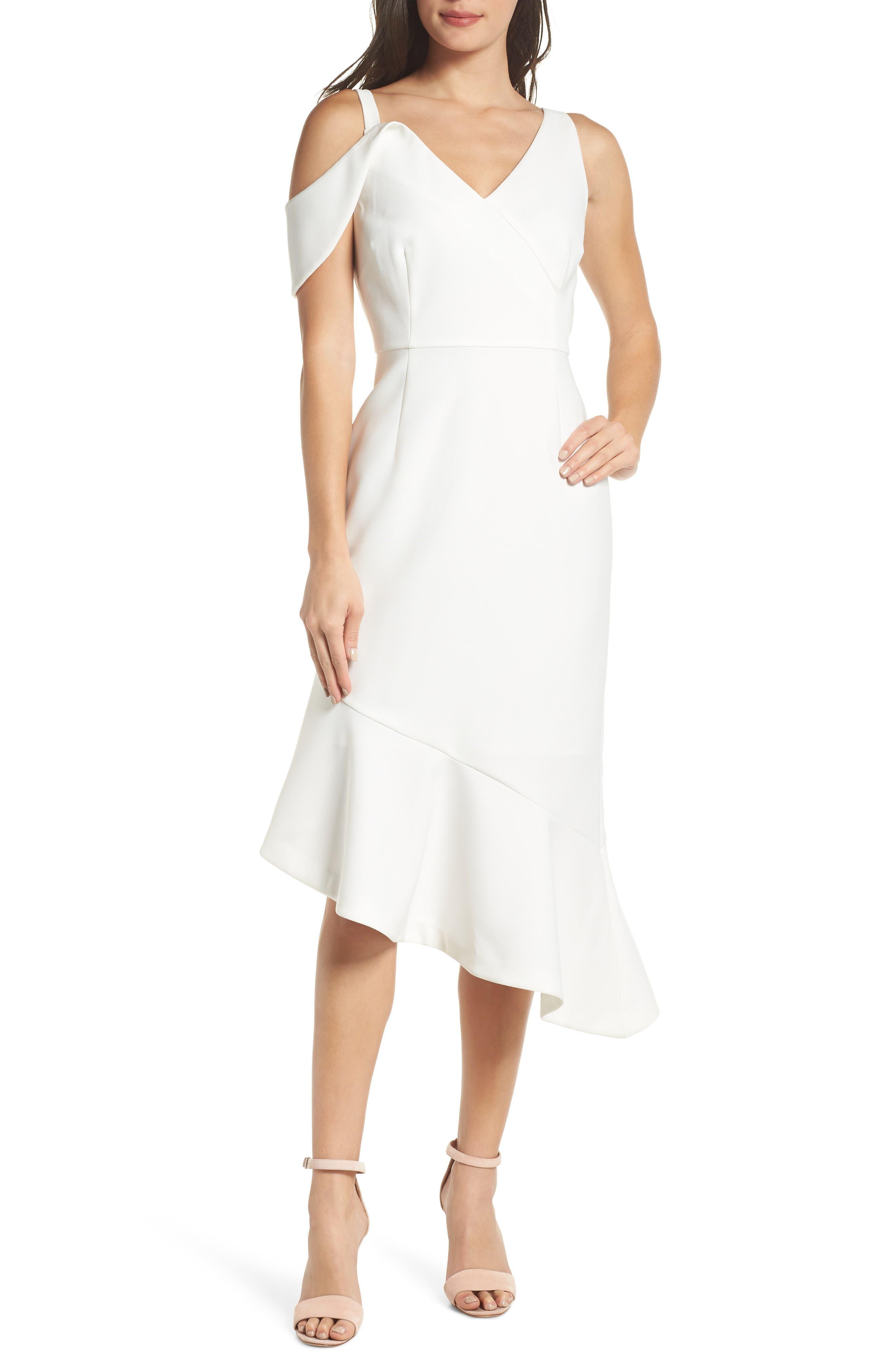 Chelsea28 Sleeveless Asymmetrical Midi Dress, White