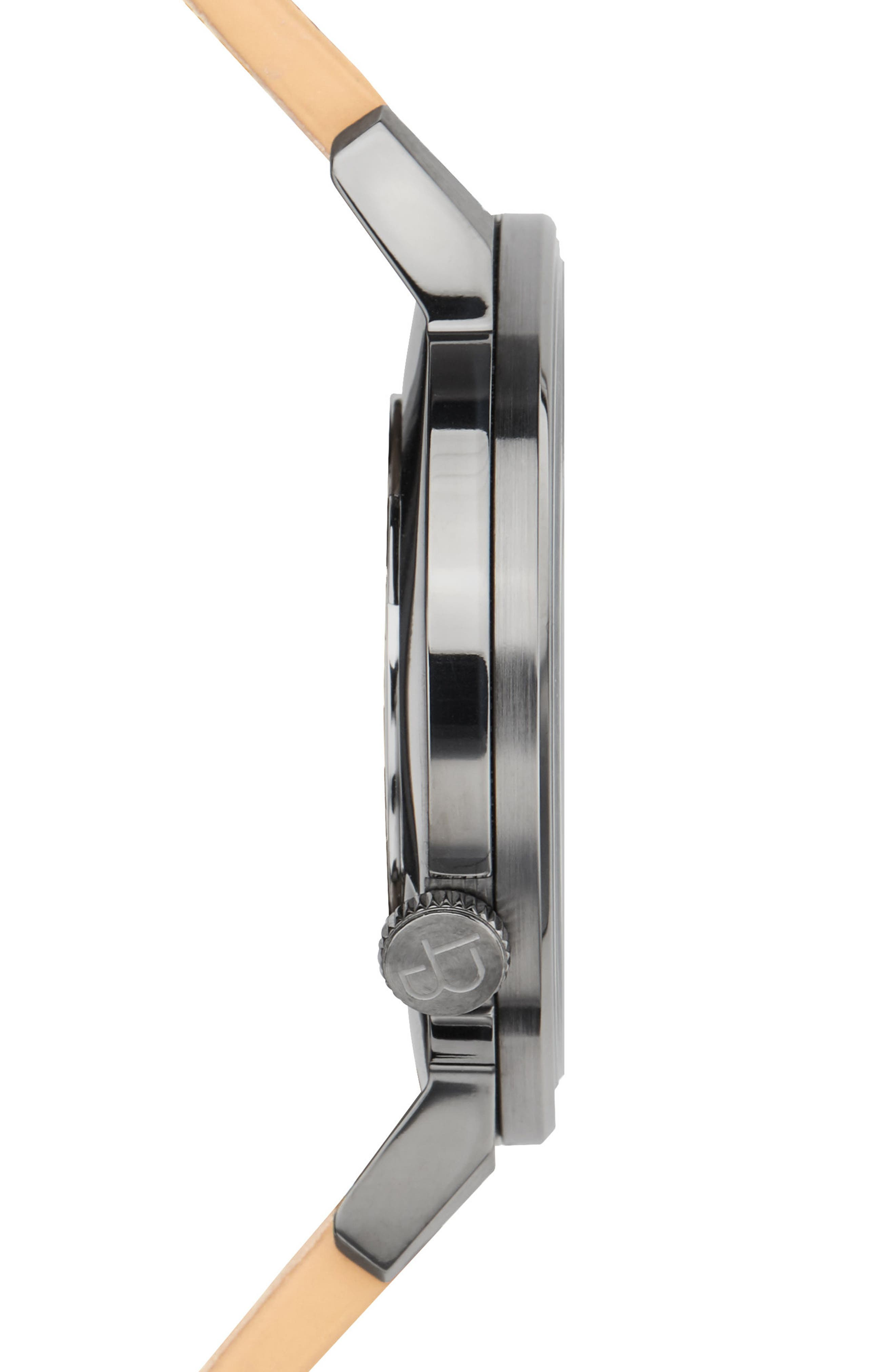 Davis Slim Leather Strap Watch, 40mm,                             Alternate thumbnail 3, color,                             KHAKI/ CAMEL