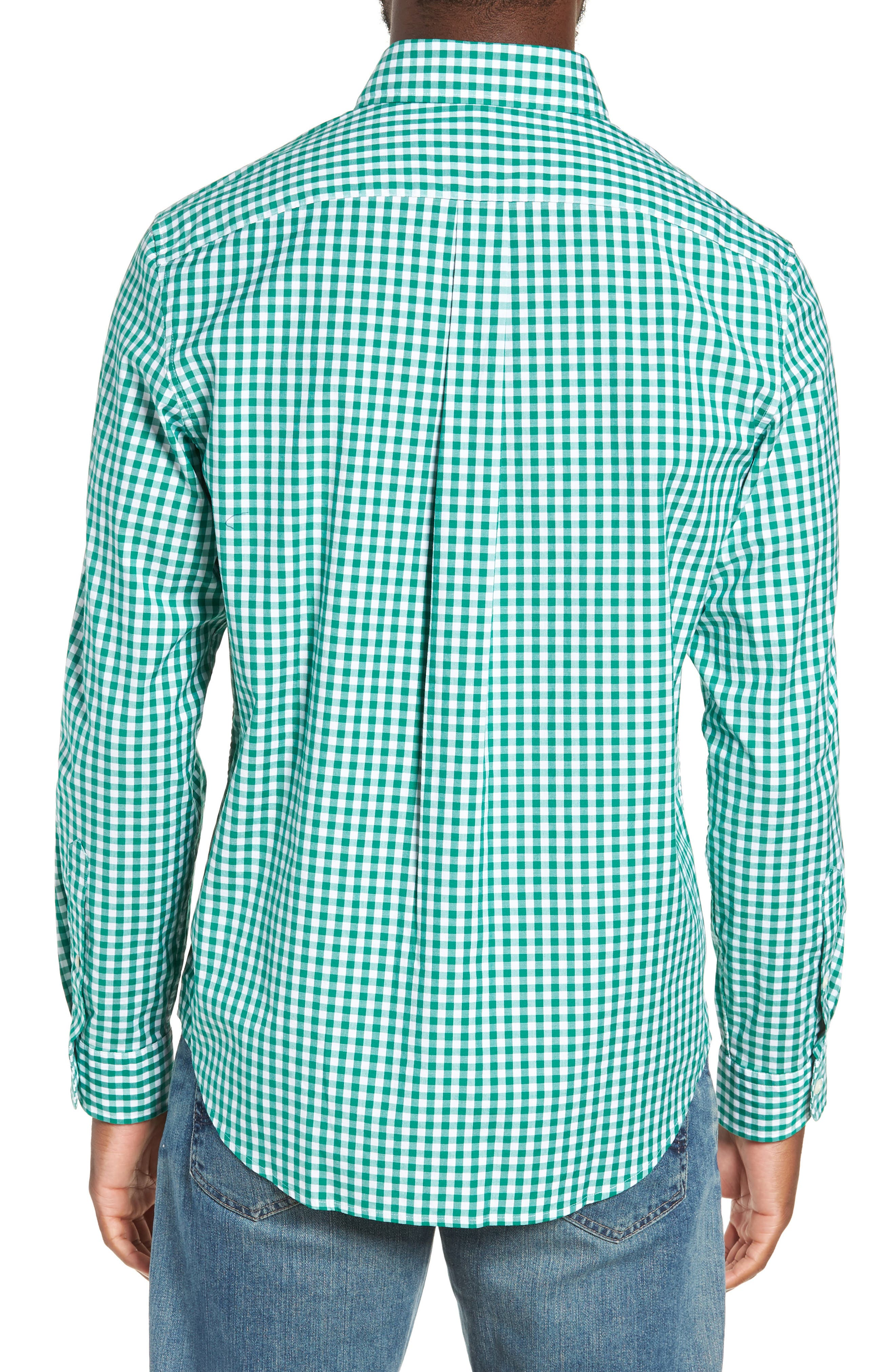 Carleton Classic Fit Gingham Sport Shirt,                             Alternate thumbnail 3, color,                             GREEN MEADOW