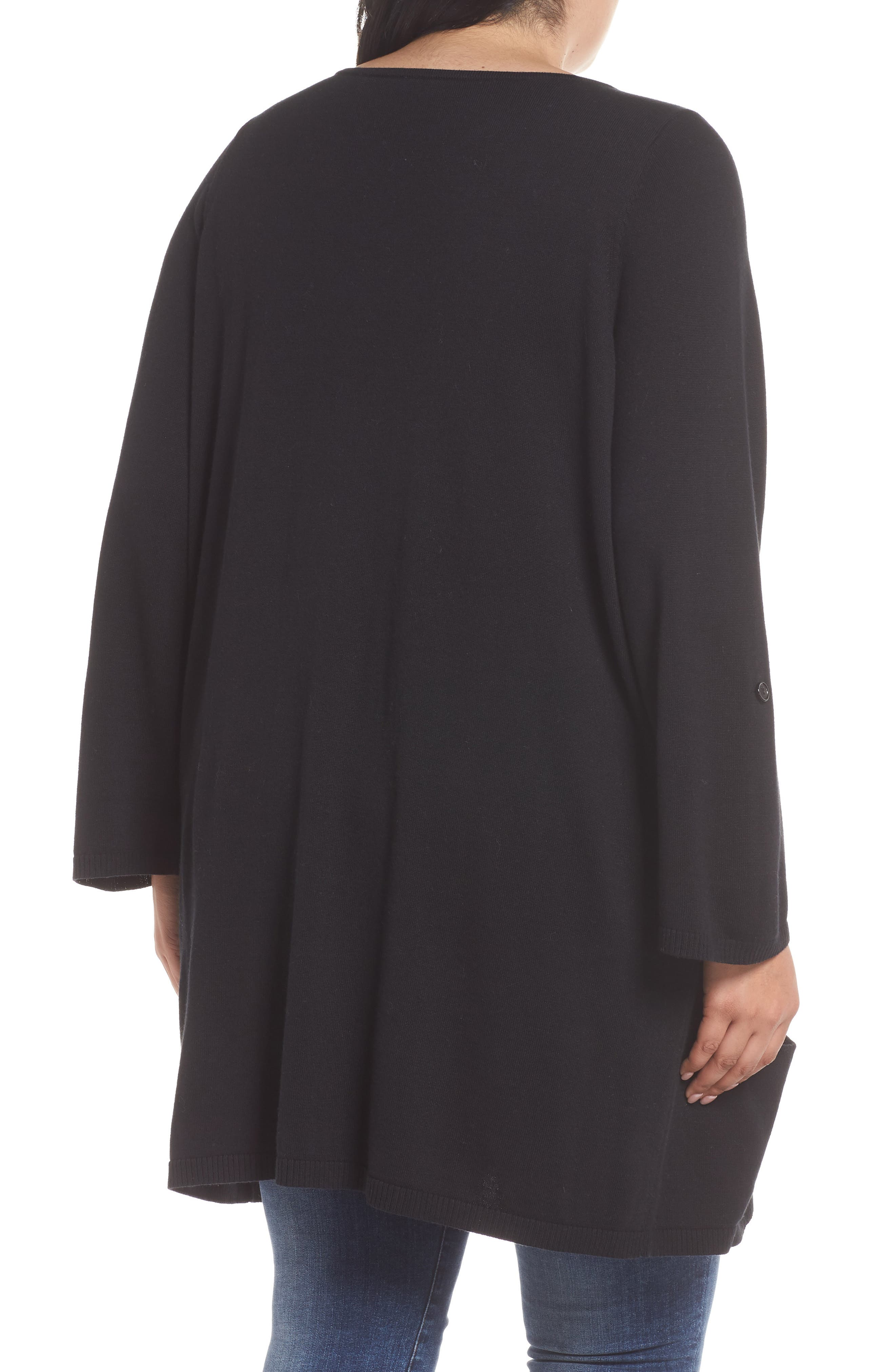 CASLON<SUP>®</SUP>,                             Roll Sleeve Tunic Sweater,                             Alternate thumbnail 2, color,                             BLACK