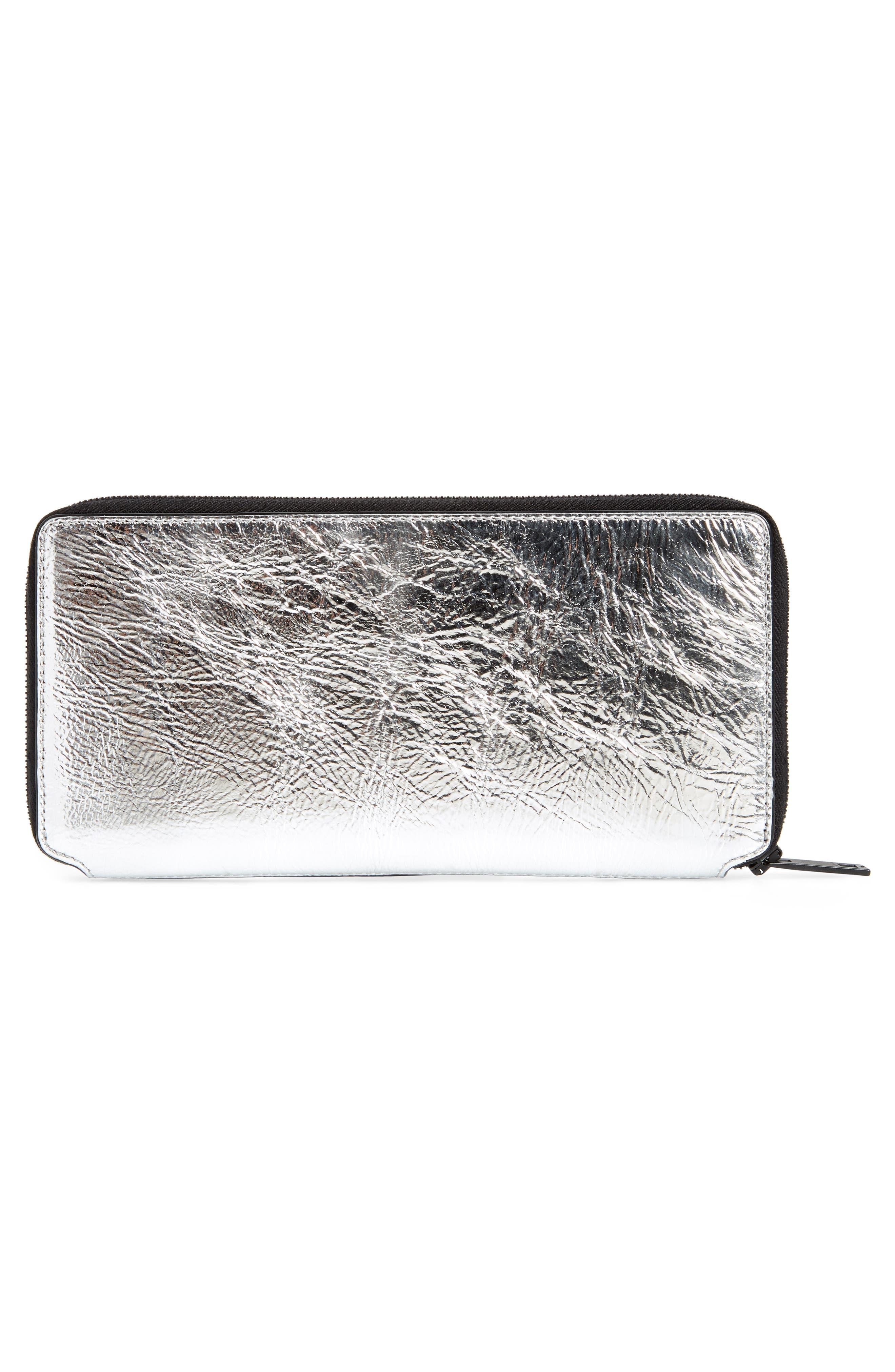 Croc Metallic Lambskin Leather Wallet,                             Alternate thumbnail 3, color,