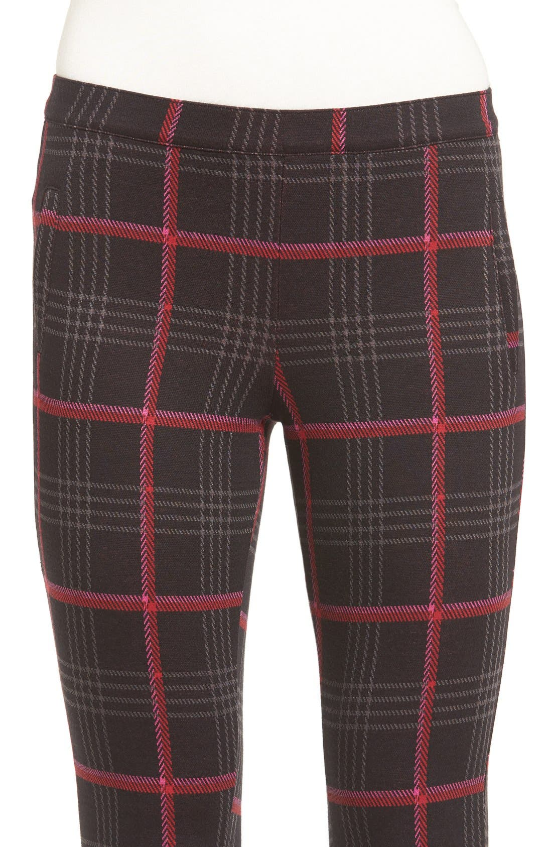 'Glen Plaid' Trouser Leggings,                             Alternate thumbnail 5, color,                             001