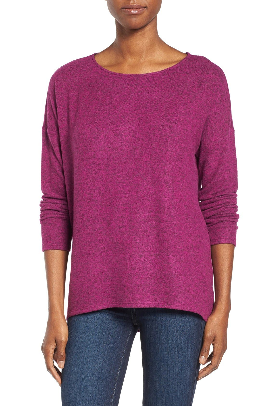 Cozy Ballet Neck High/Low Pullover,                             Main thumbnail 14, color,