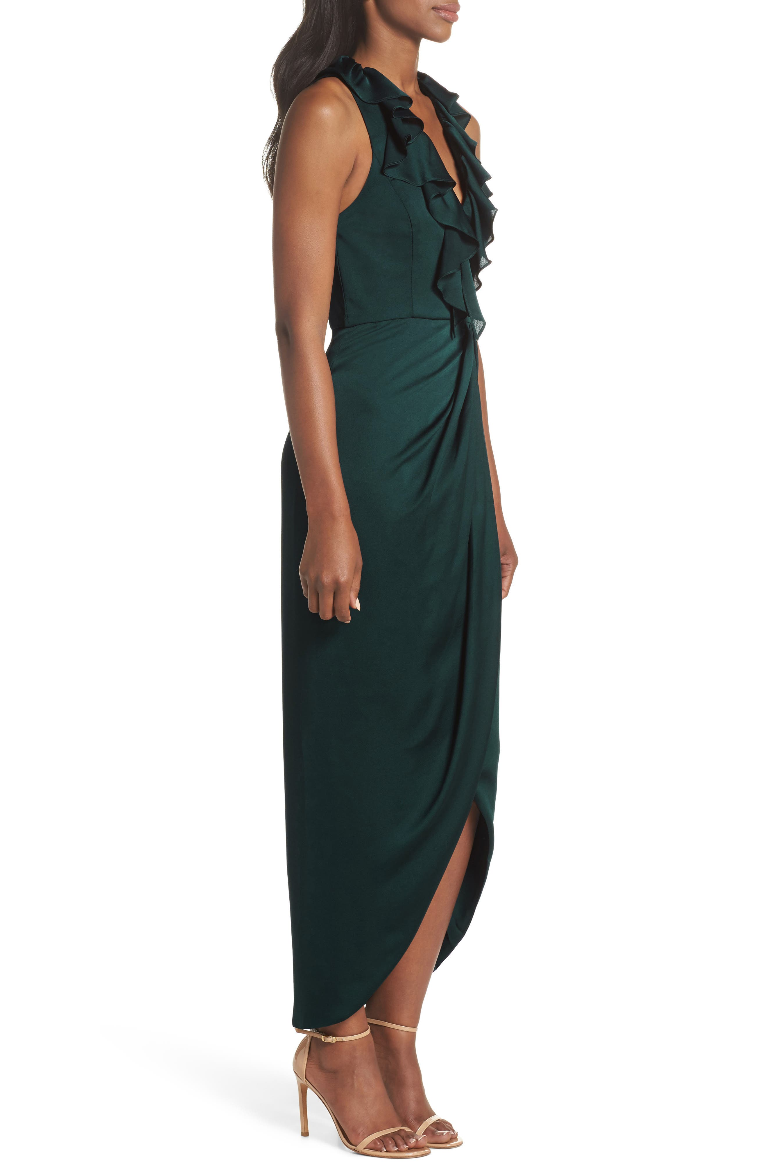 Luxe Plunging Frill Maxi Dress,                             Alternate thumbnail 3, color,                             300
