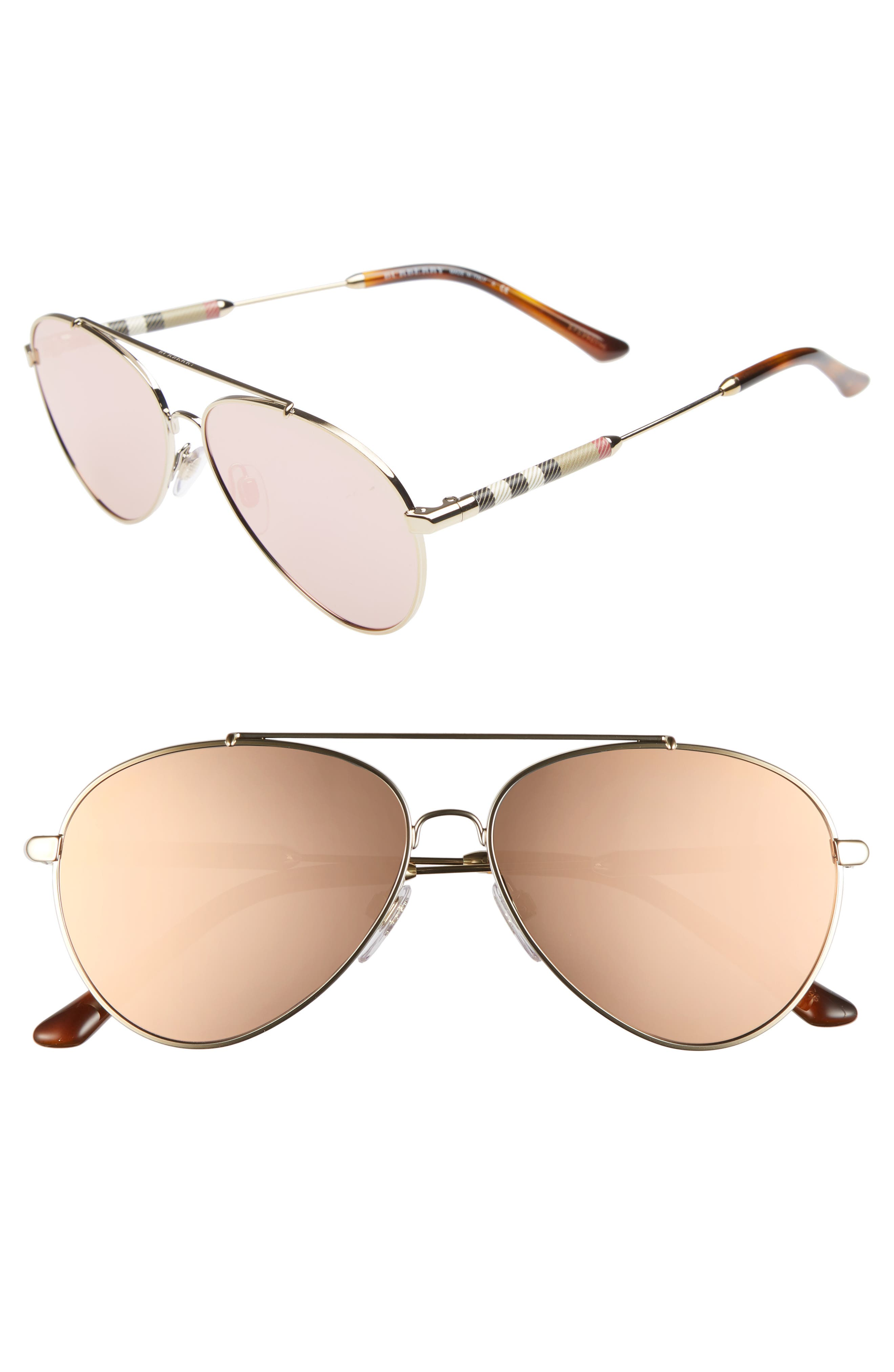 57mm Mirrored Aviator Sunglasses,                             Main thumbnail 1, color,                             031