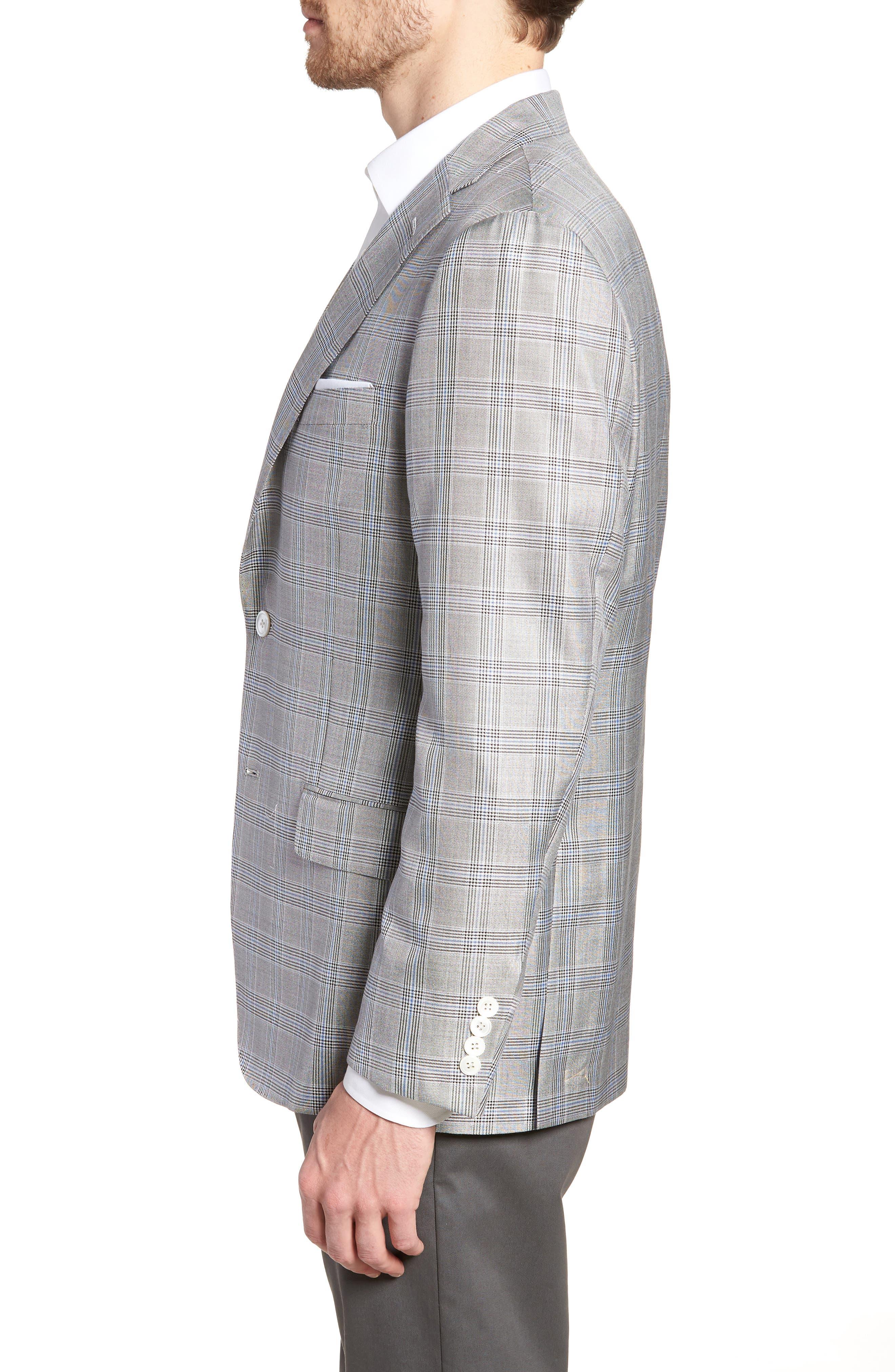 Classic B Fit Plaid Silk & Wool Sport Coat,                             Alternate thumbnail 3, color,                             001