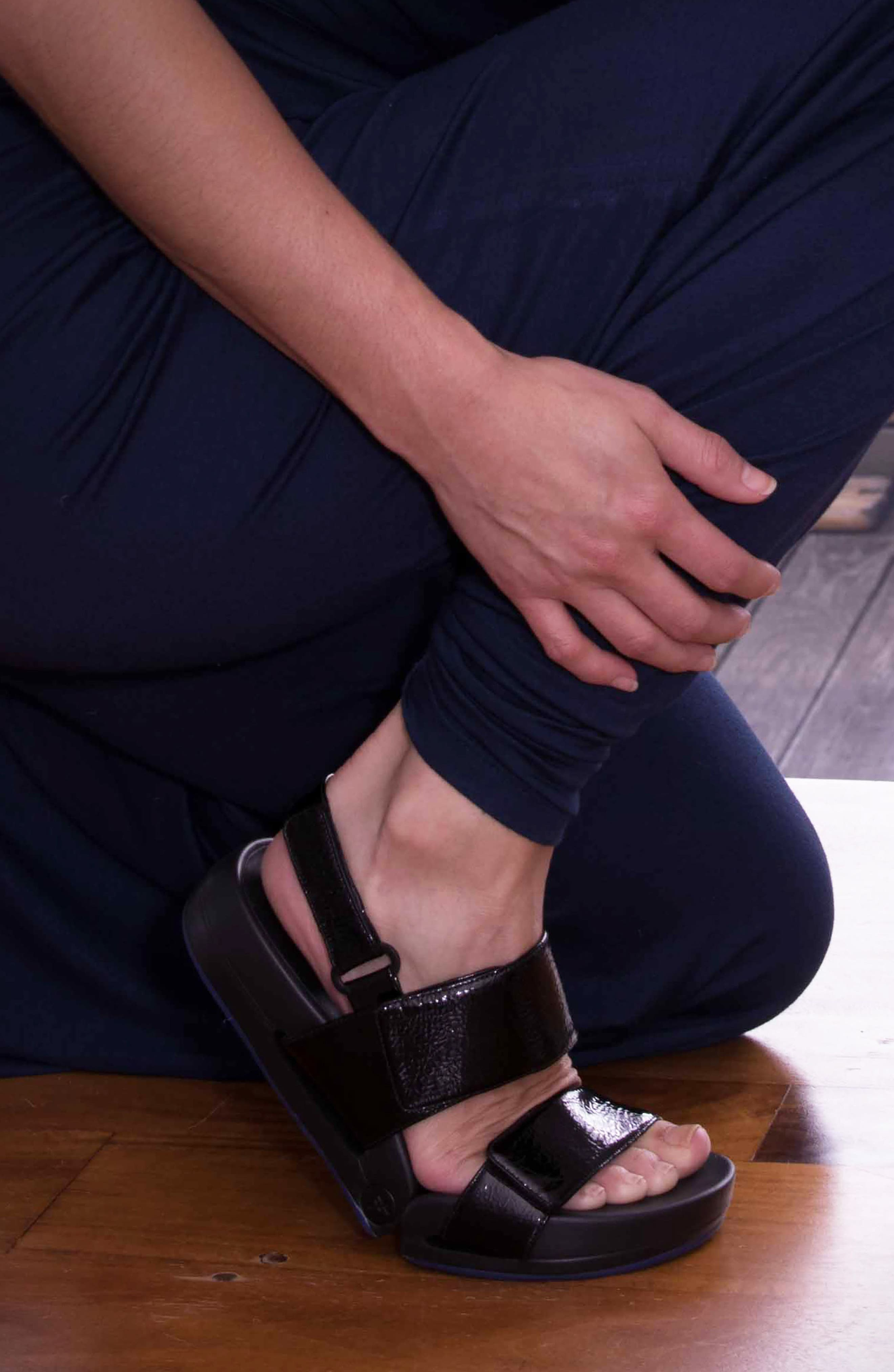 Figulous Sandal,                             Alternate thumbnail 10, color,                             BLACK CRINKLE PATENT LEATHER