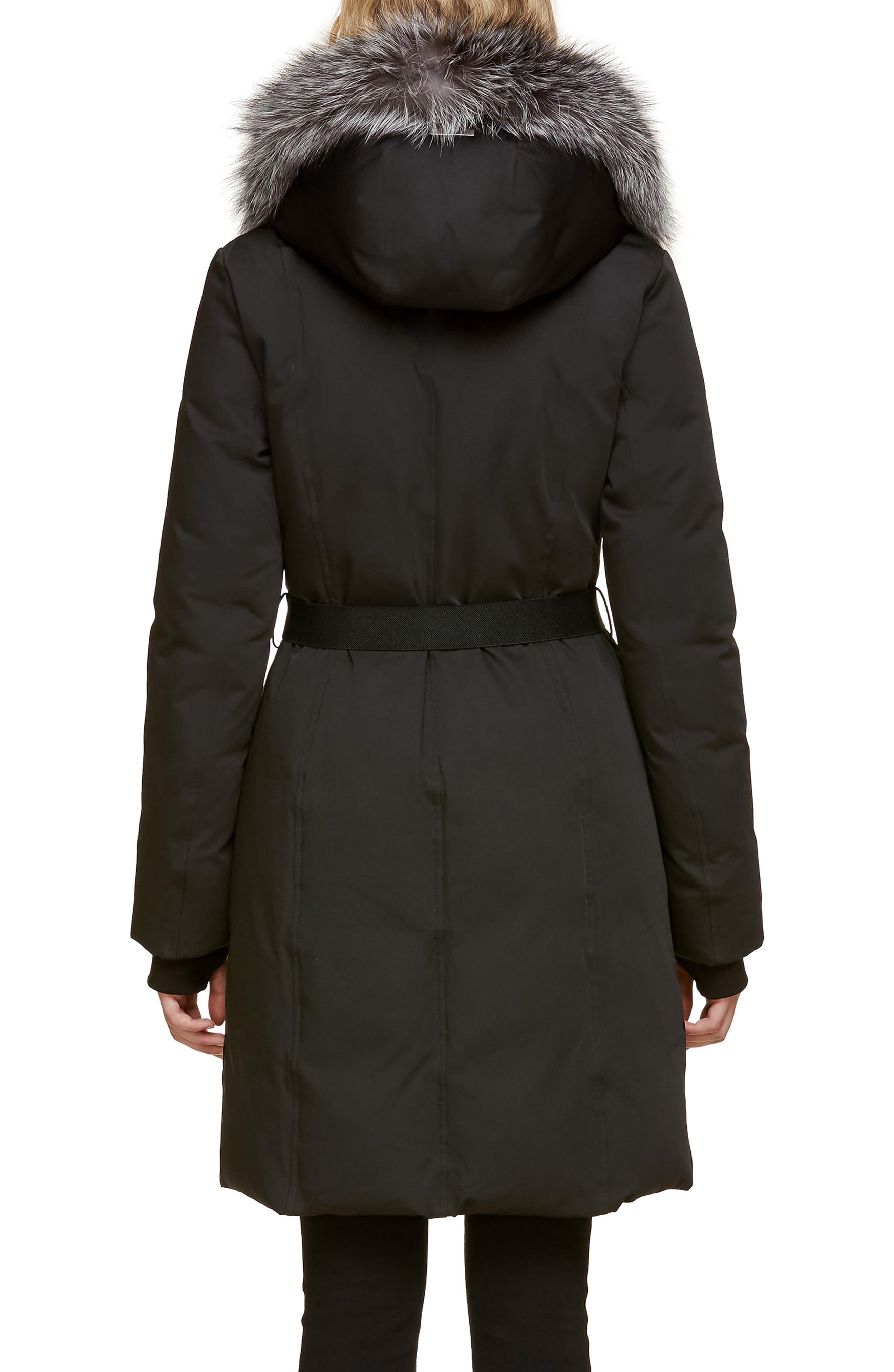 Slim Fit Water Resistant Down Jacket with Genuine Fox Fur Trim,                             Alternate thumbnail 2, color,                             BLACK