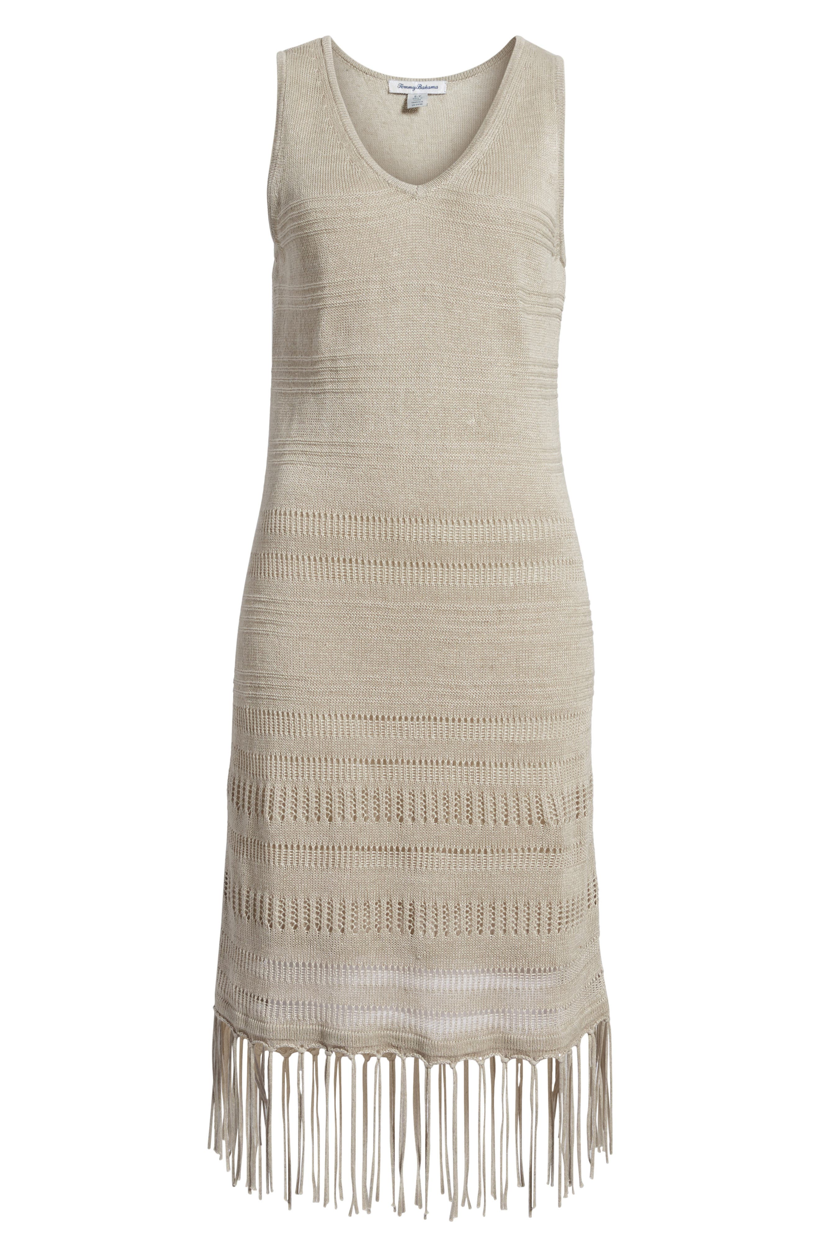 TOMMY BAHAMA,                             Pointelle Knit Tank Dress,                             Alternate thumbnail 6, color,                             NATURAL