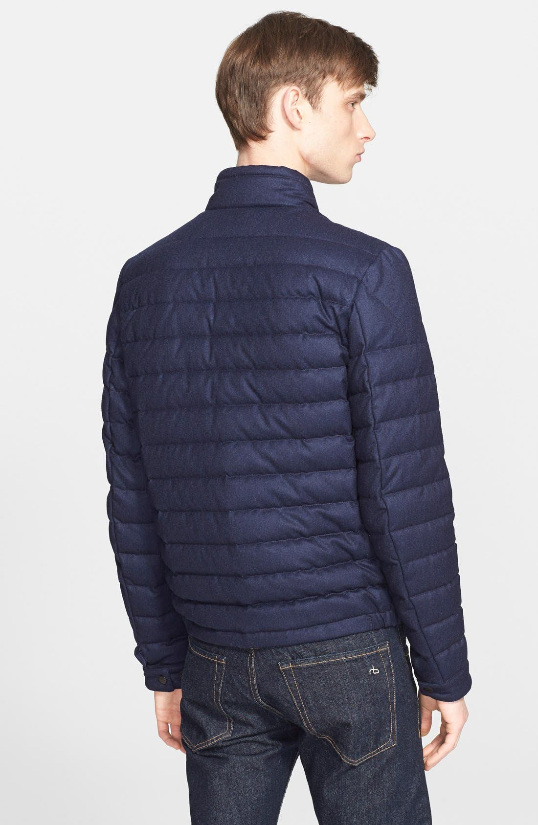 MONCLER,                             'Delabost' Quilted Wool Moto Jacket,                             Alternate thumbnail 2, color,                             402