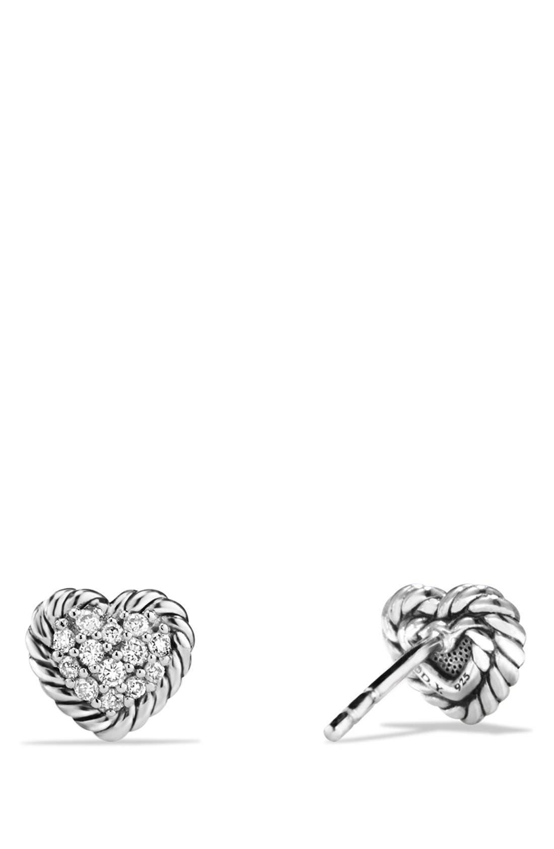 DAVID YURMAN,                             'Châtelaine' Heart Earrings with Diamonds,                             Alternate thumbnail 3, color,                             SILVER