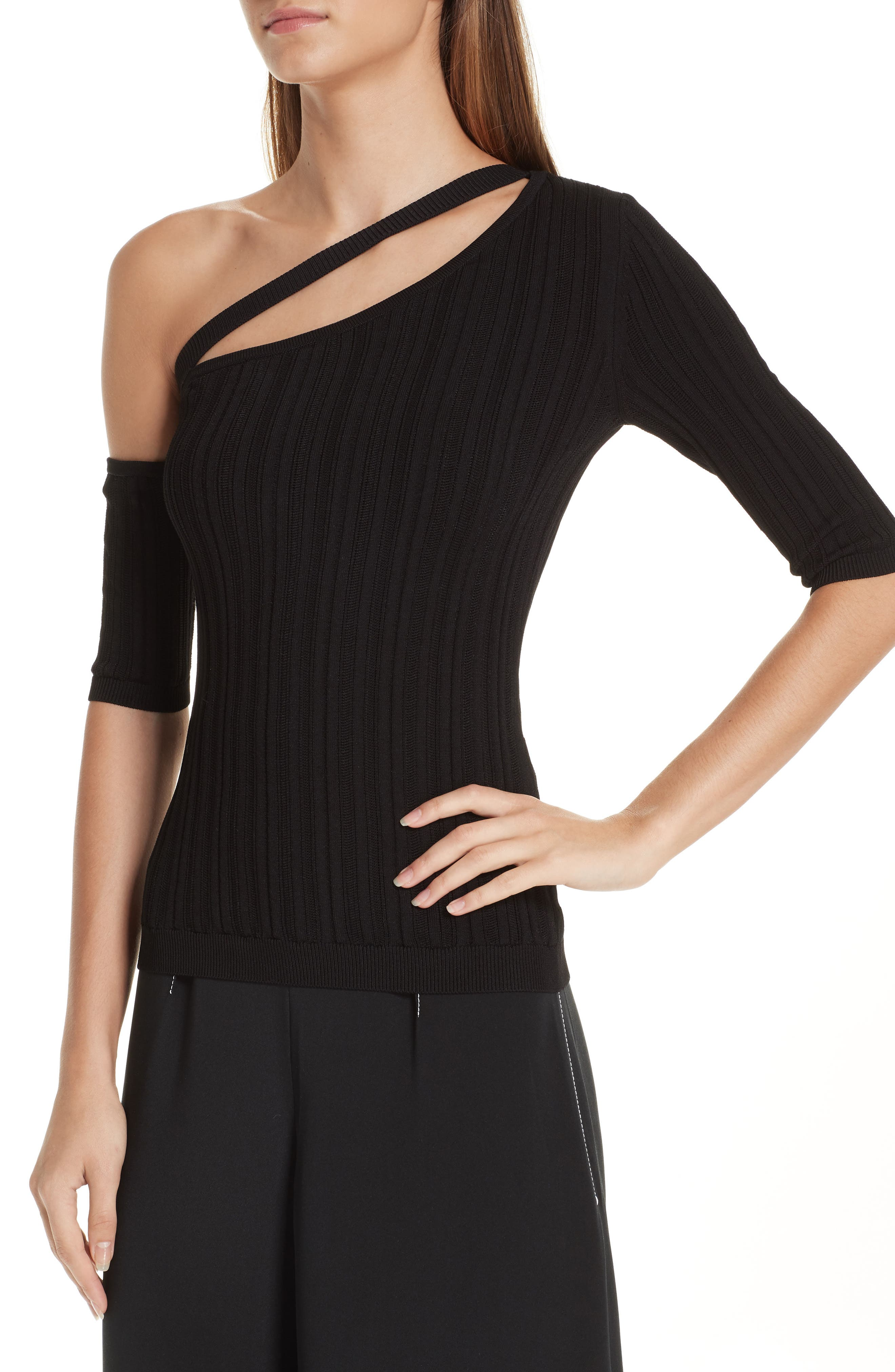 CUSHNIE,                             Cutout One-Shoulder Top,                             Alternate thumbnail 4, color,                             BLACK