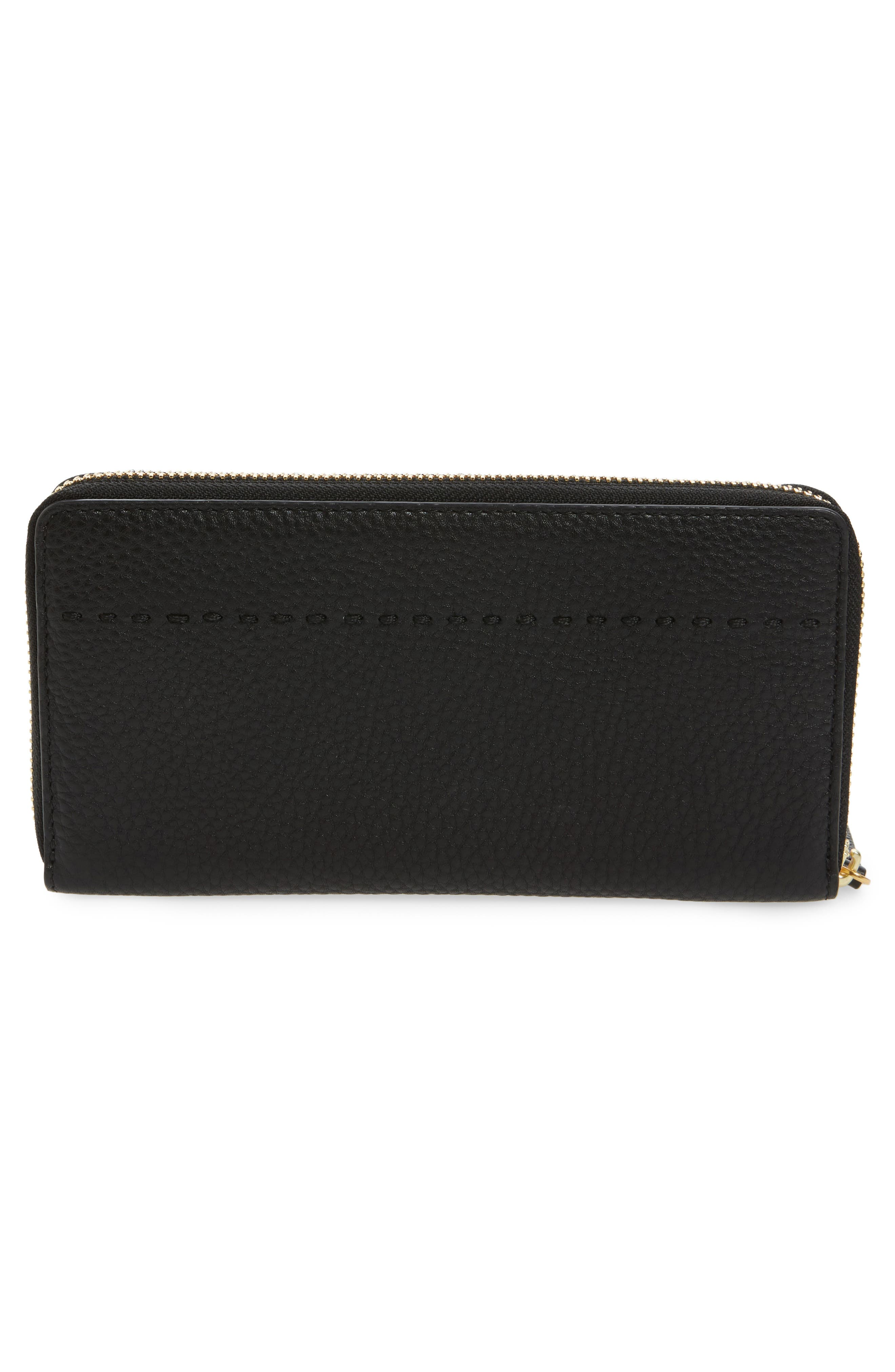 McGraw Leather Continental Zip Wallet,                             Alternate thumbnail 3, color,                             BLACK