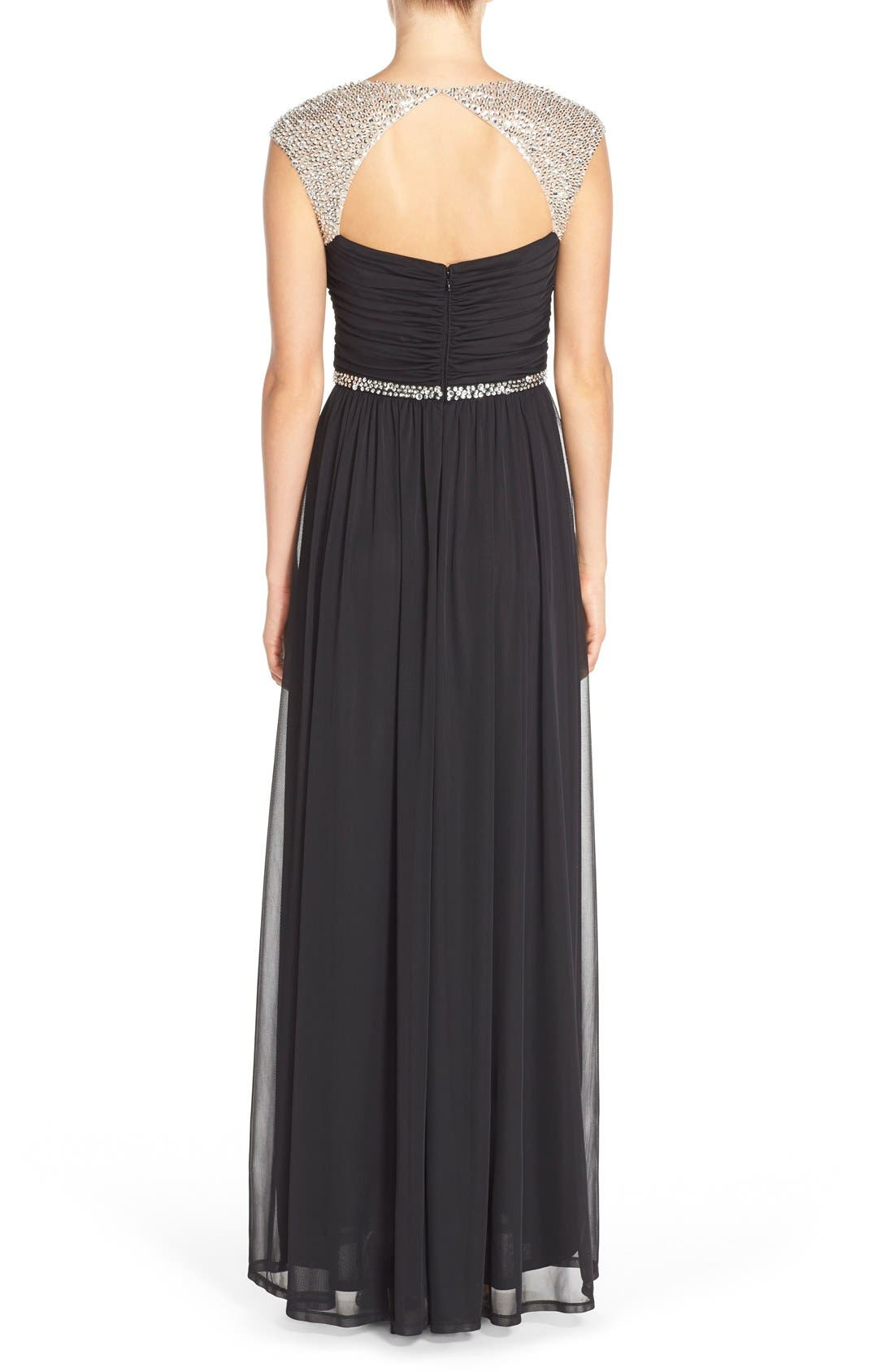 Embellished Ruched Jersey Gown,                             Alternate thumbnail 4, color,                             001
