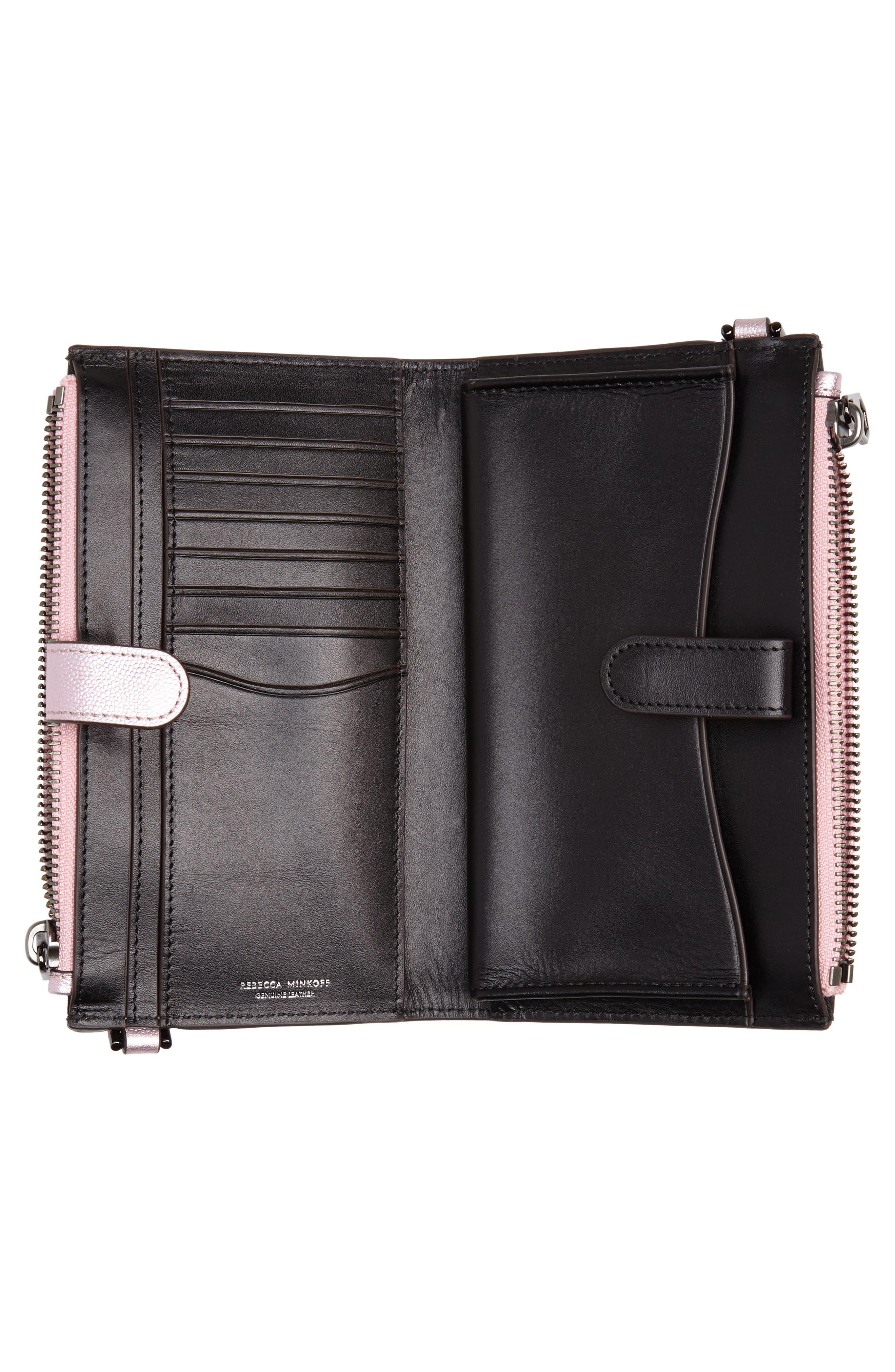 Bifold Leather Crossbody Wallet,                             Alternate thumbnail 4, color,                             METALLIC PINK
