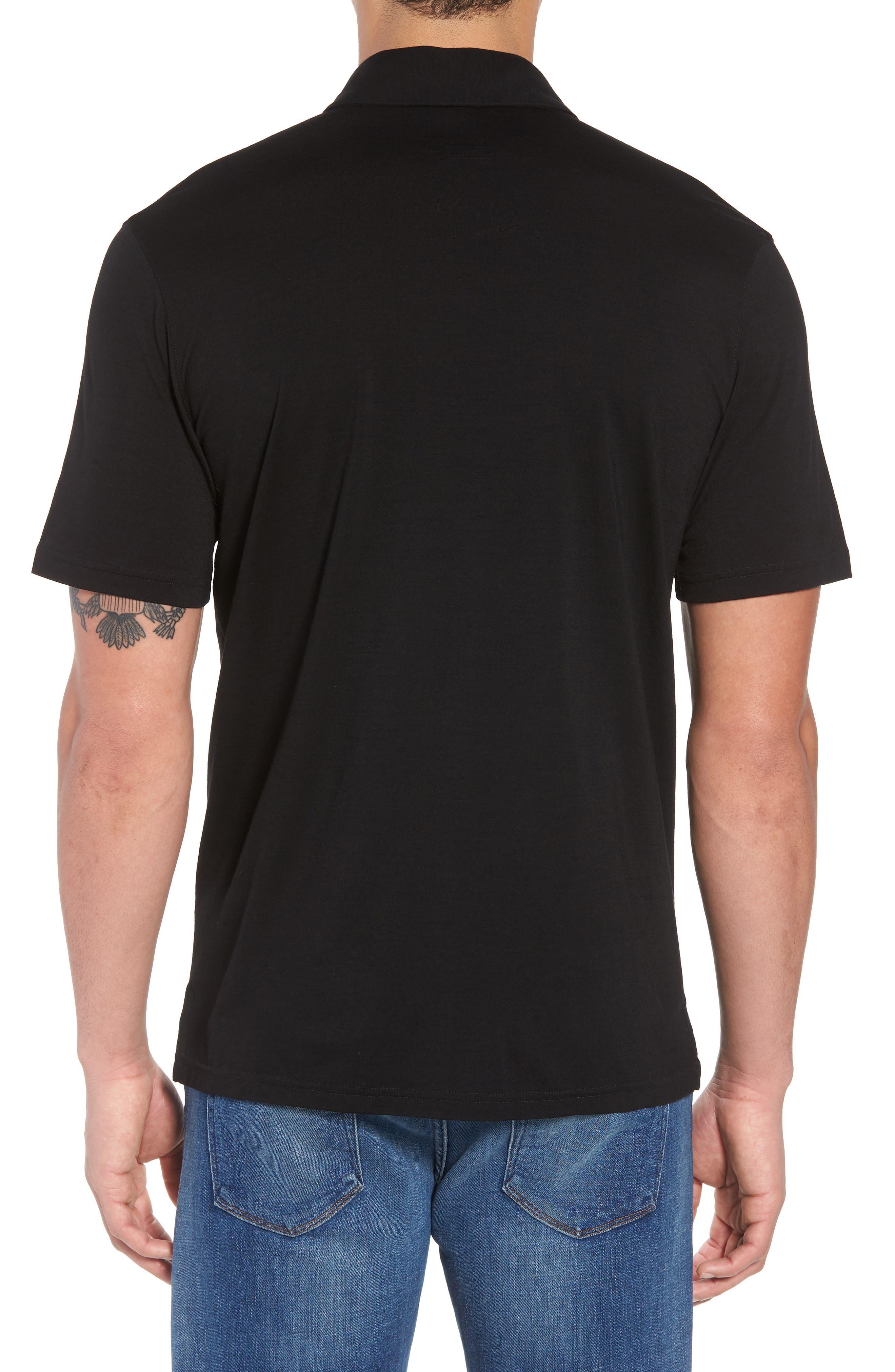 Merino 150 Wool Blend Polo Shirt,                             Alternate thumbnail 2, color,                             BLACK