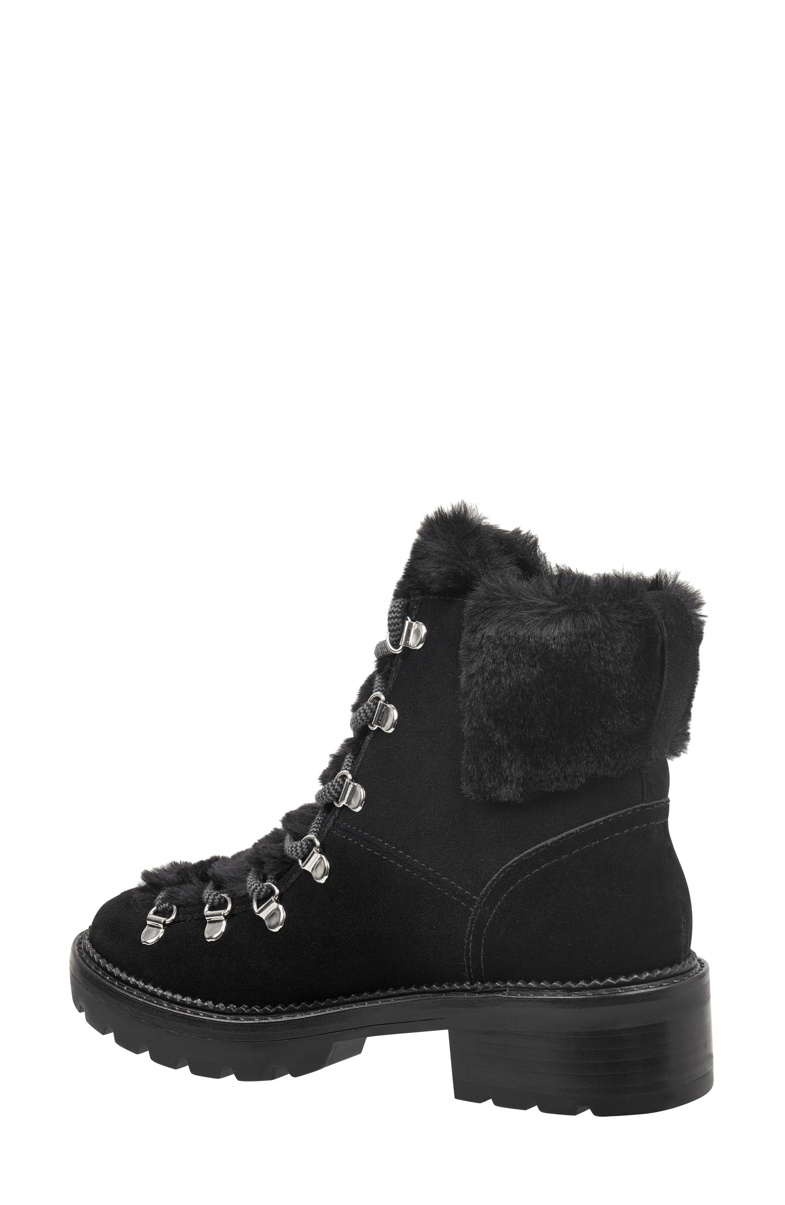 Capell Faux Shearling Cuff Lace-Up Boot,                             Alternate thumbnail 2, color,                             BLACK SUEDE