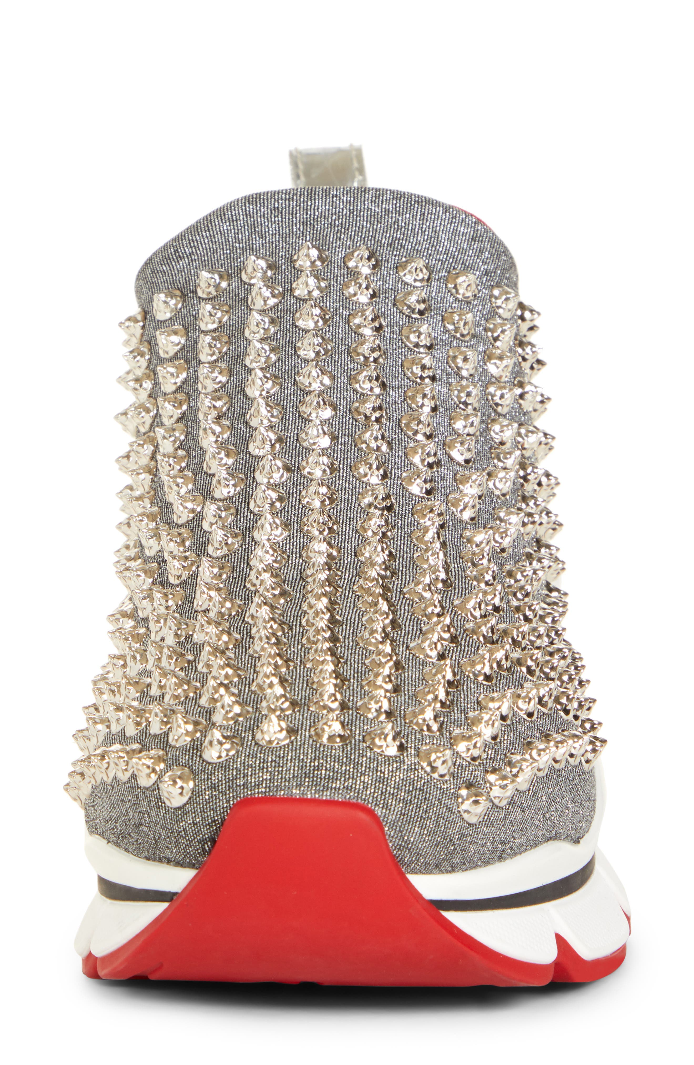 CHRISTIAN LOUBOUTIN,                             Spiky Sock-Knit Slip-On Sneaker,                             Alternate thumbnail 4, color,                             SILVER