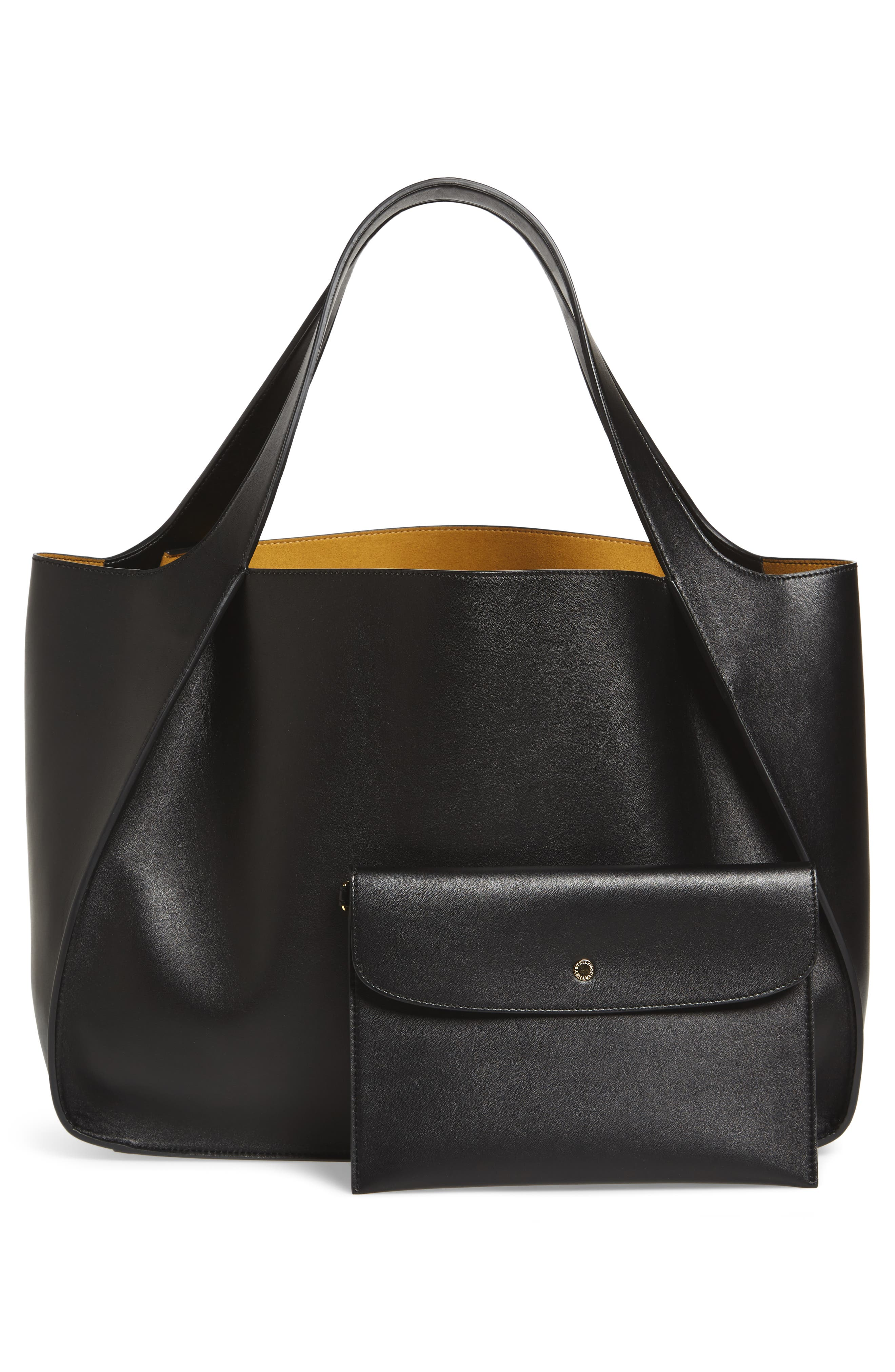 Medium Perforated Logo Faux Leather Tote,                             Alternate thumbnail 3, color,                             BLACK