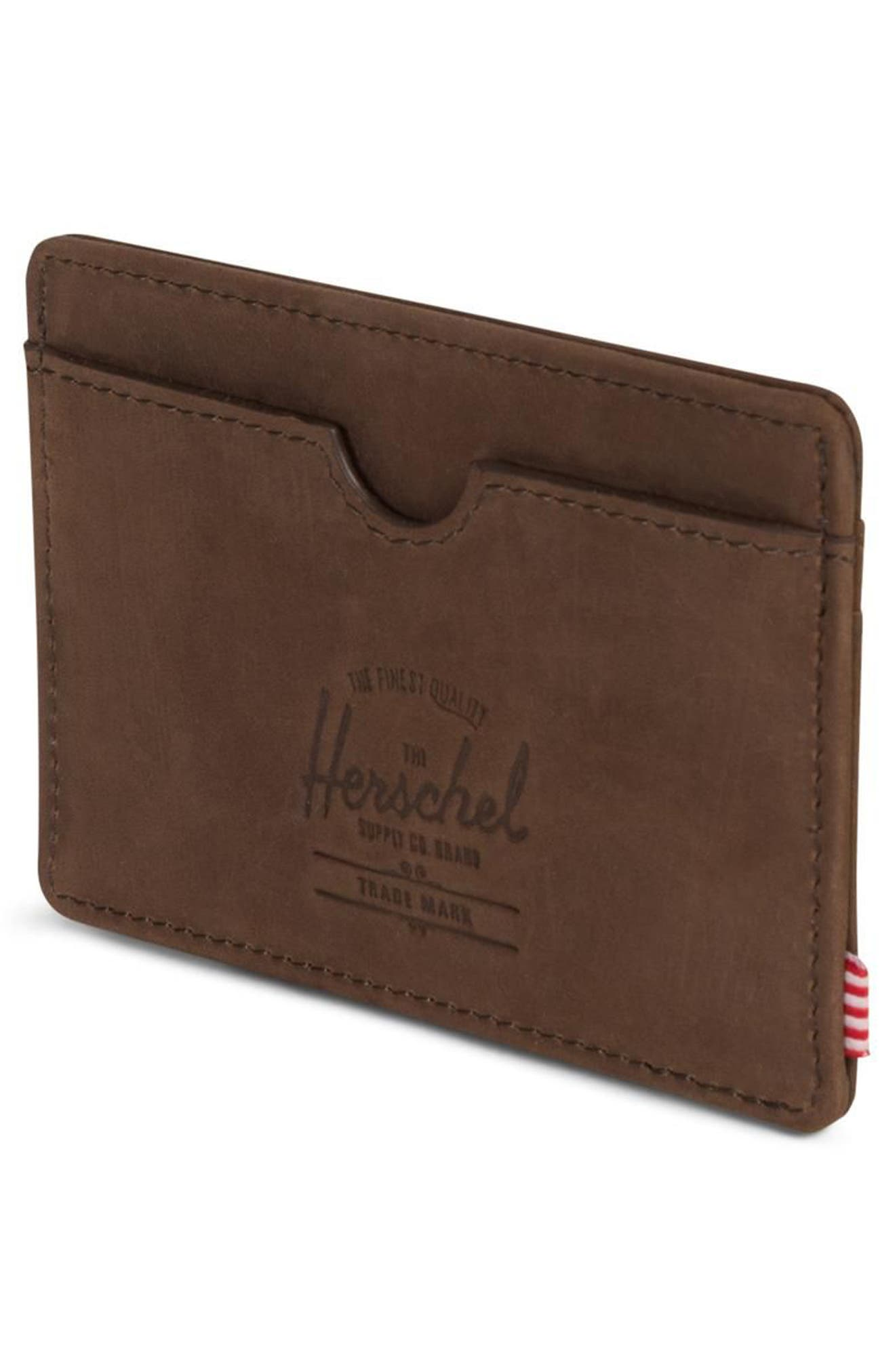 Charlie Nubuck Leather Card Case,                             Alternate thumbnail 4, color,                             NUBUCK BROWN