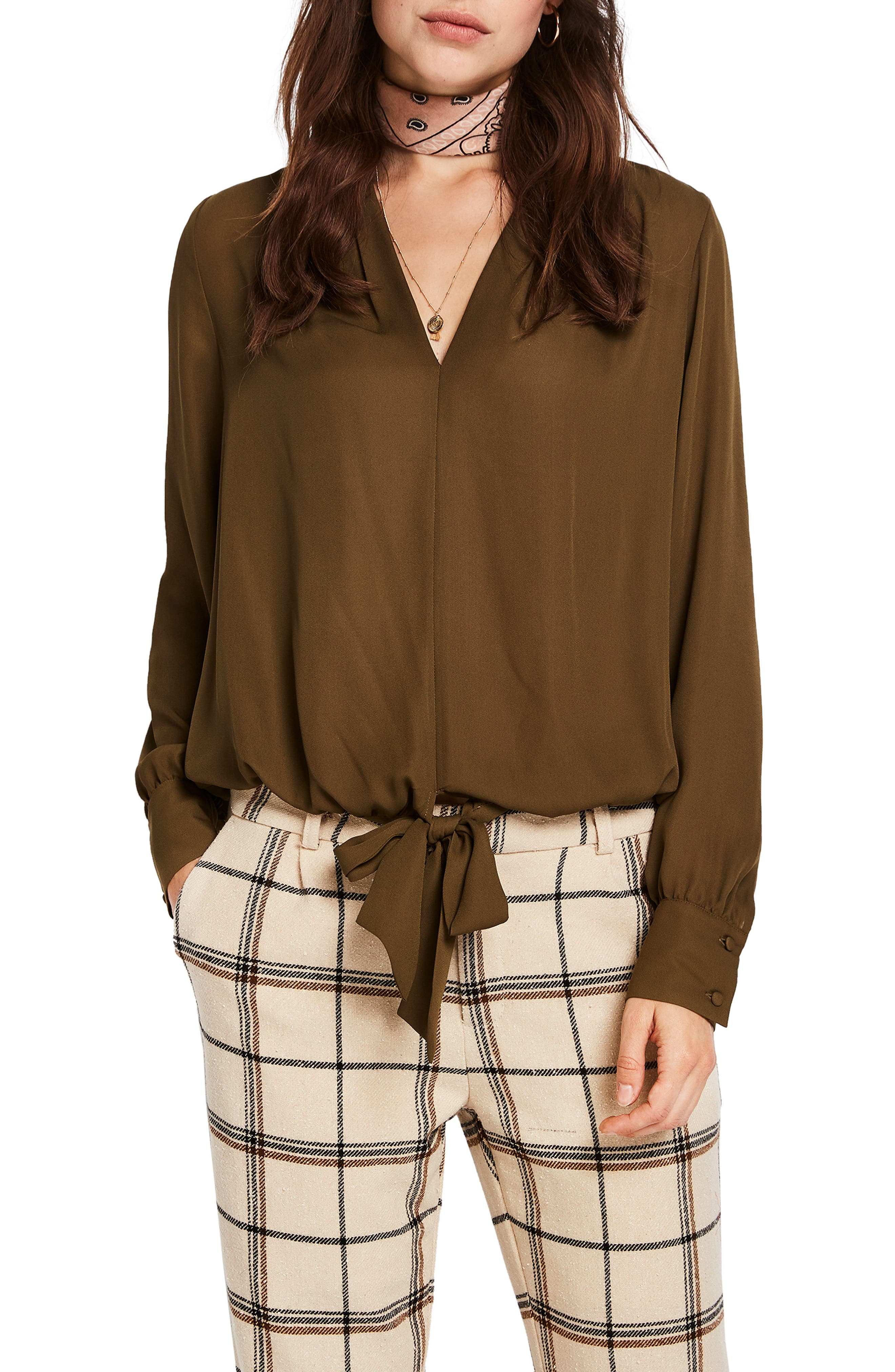 V-Neck Tie Detail Top,                         Main,                         color, MILITARY