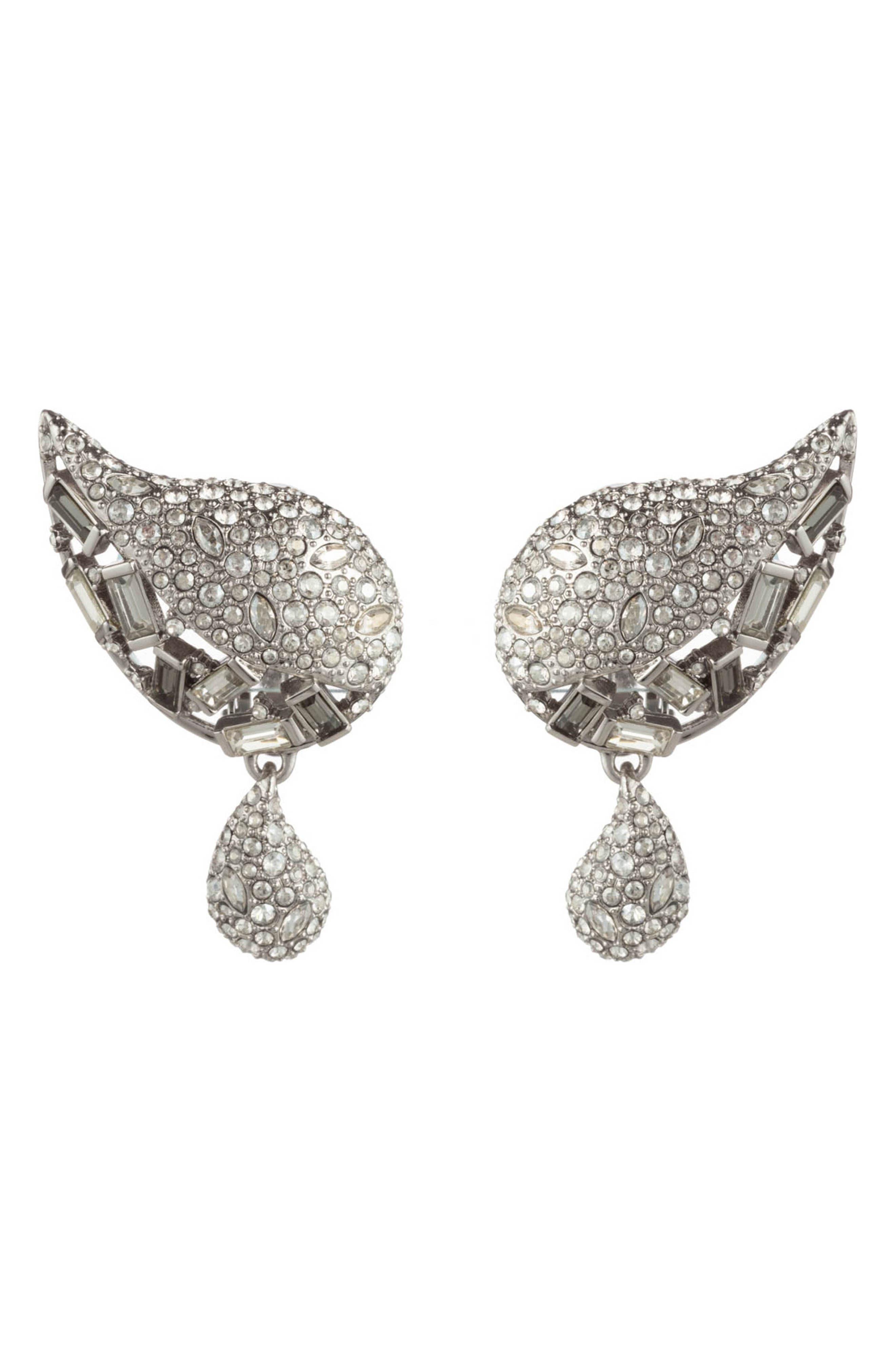 Winter Paisley Crystal Encrusted Drop Earrings