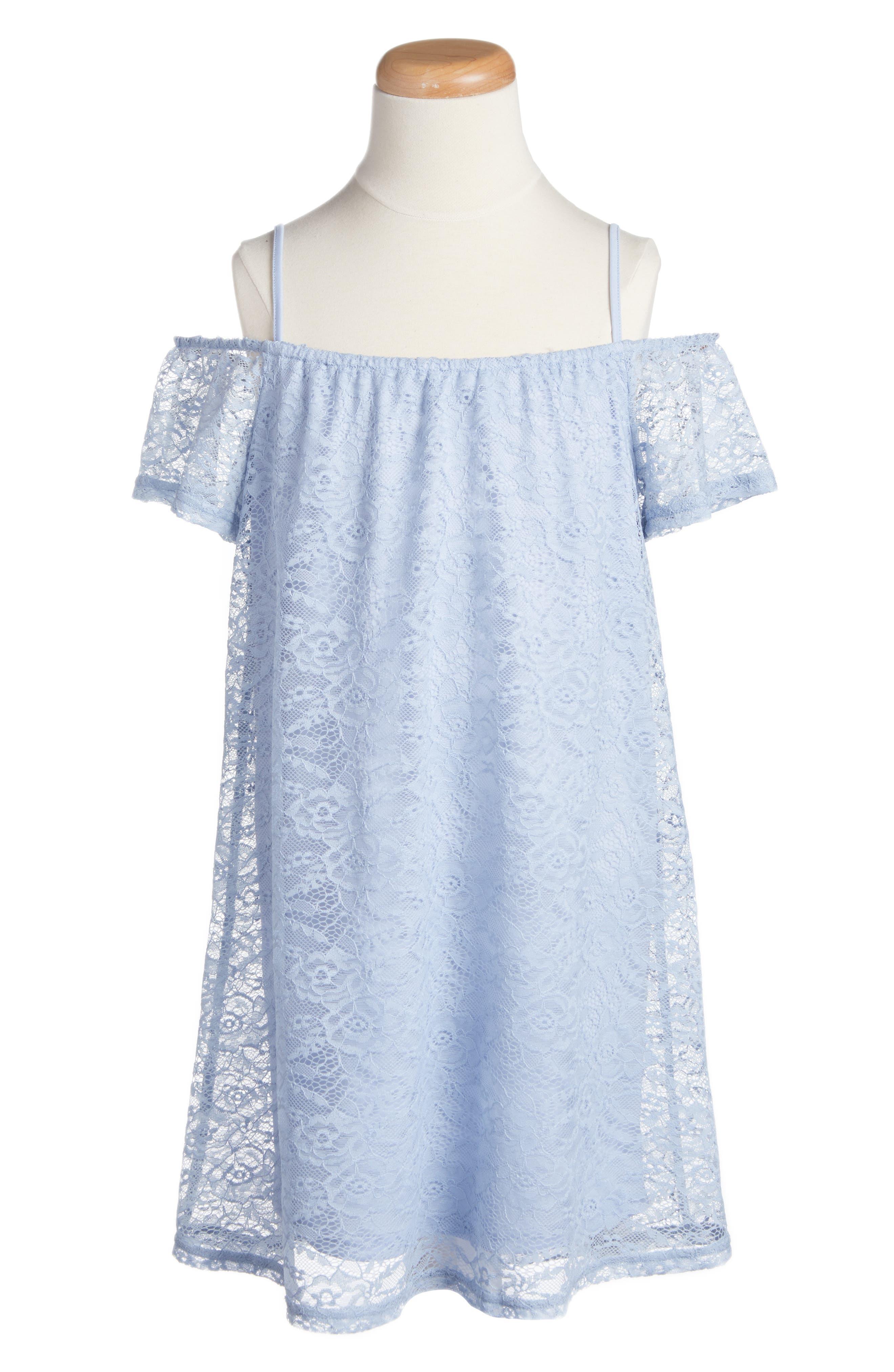 Lace Shift Dress,                         Main,                         color, ZEN BLUE