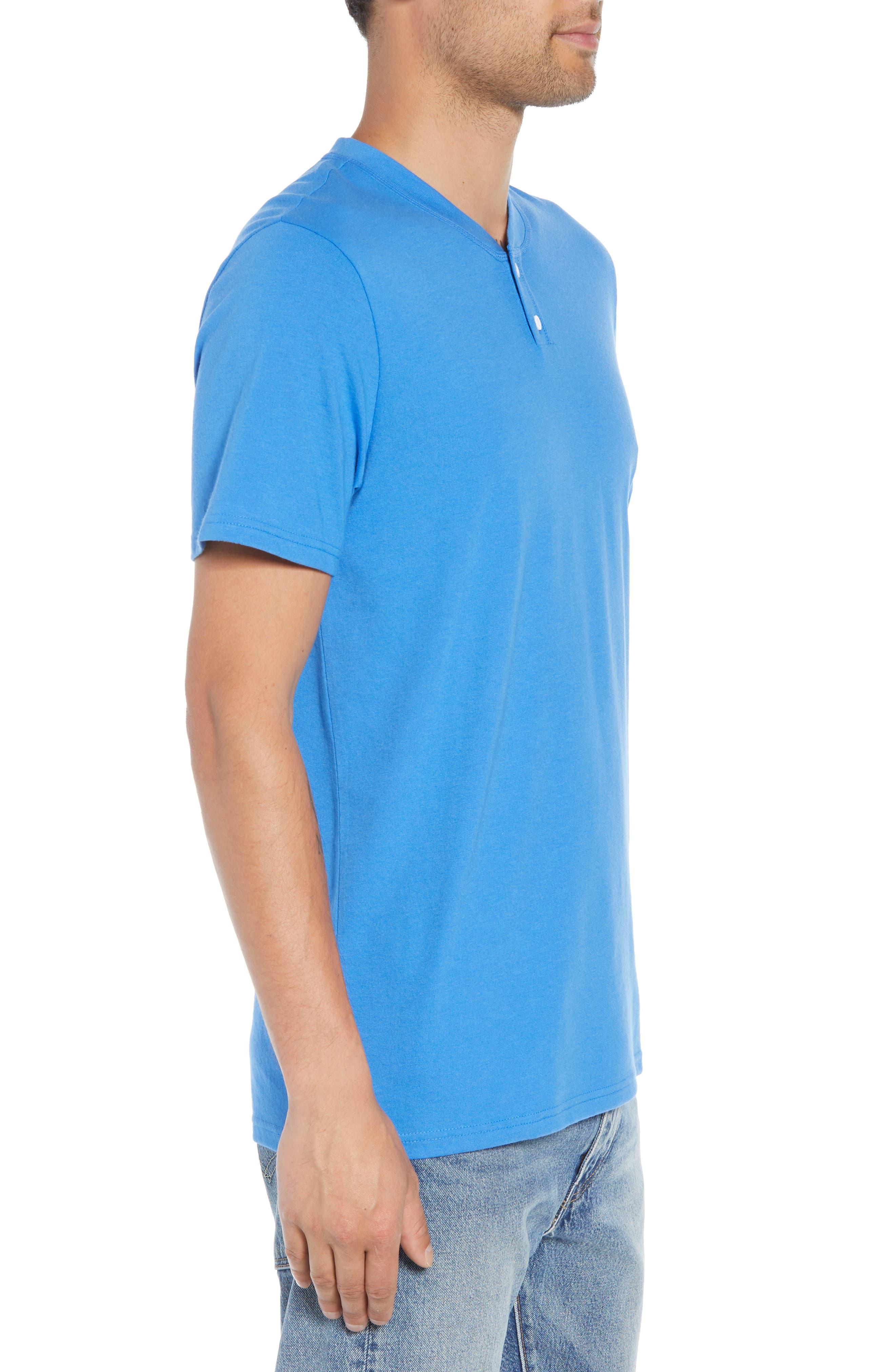 Solid Henley T-Shirt,                             Alternate thumbnail 3, color,                             BLUE BLISS