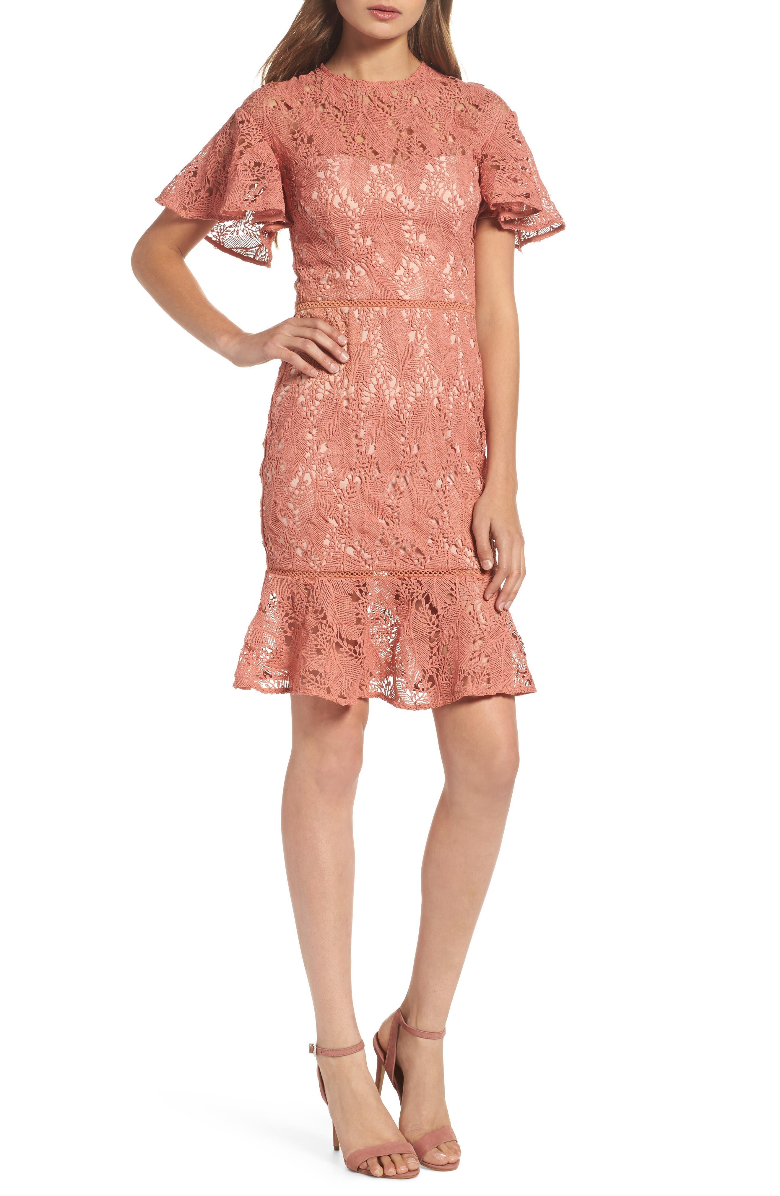 Monaco Flounce Hem Dress,                             Main thumbnail 1, color,
