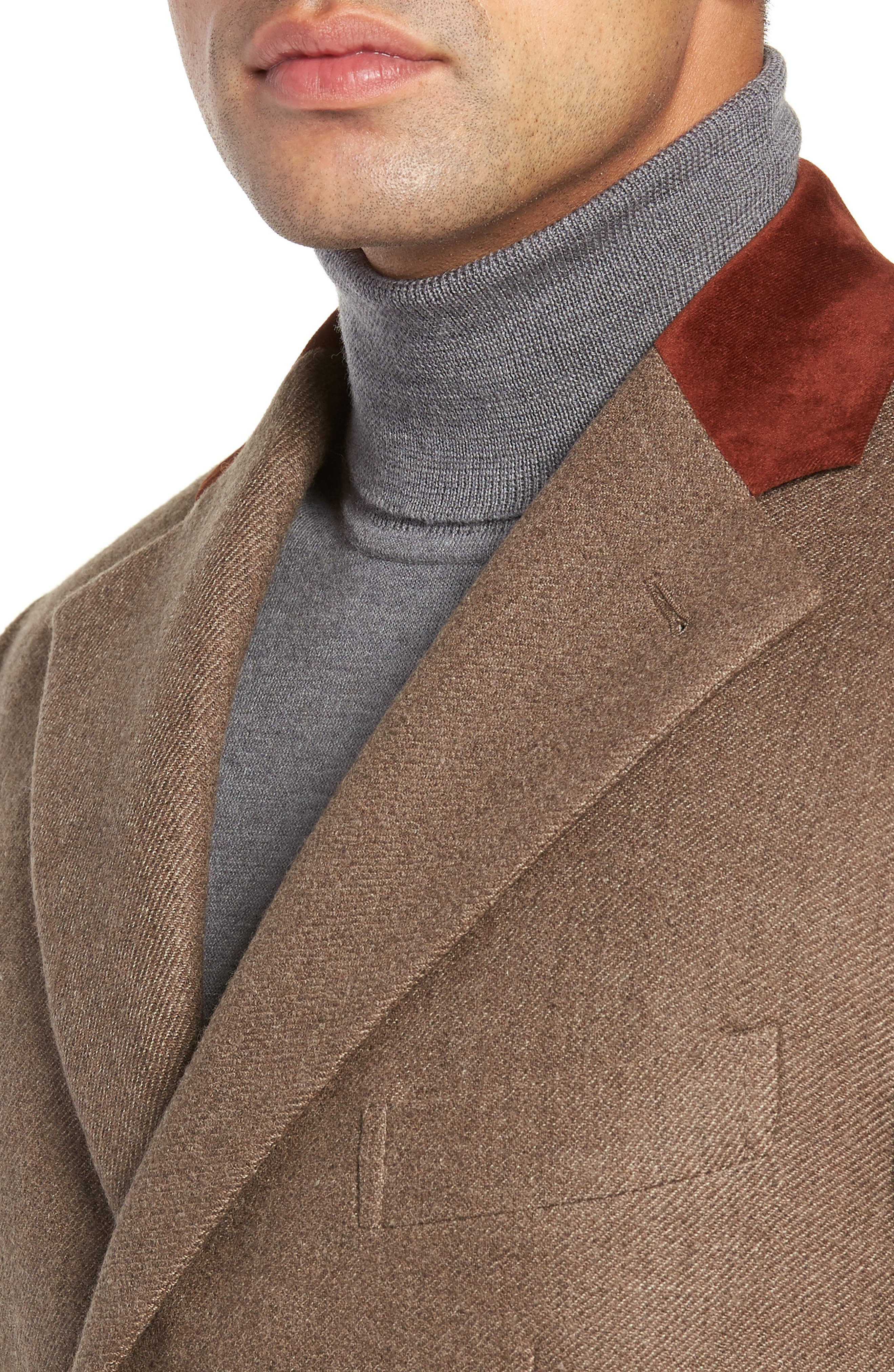 Trim Fit Wool Chesterfield Coat,                             Alternate thumbnail 4, color,                             TAN