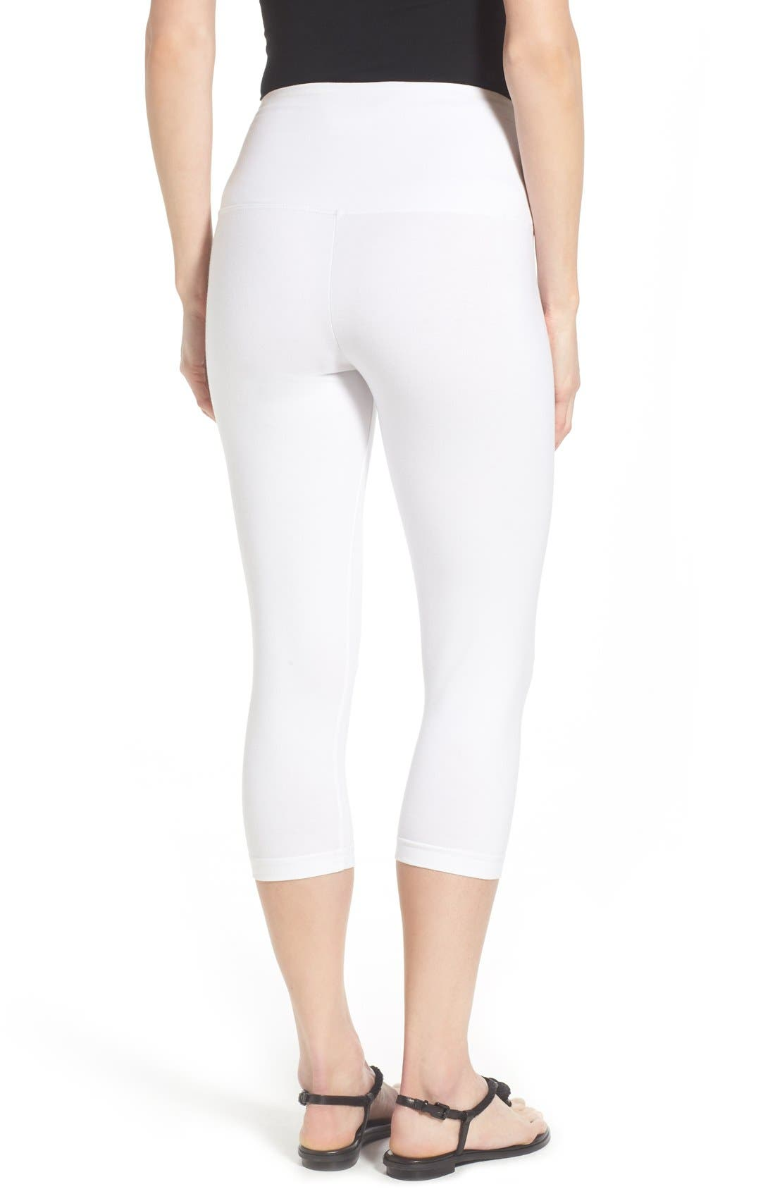 Control Top High Waist Capris,                             Alternate thumbnail 7, color,                             WHITE