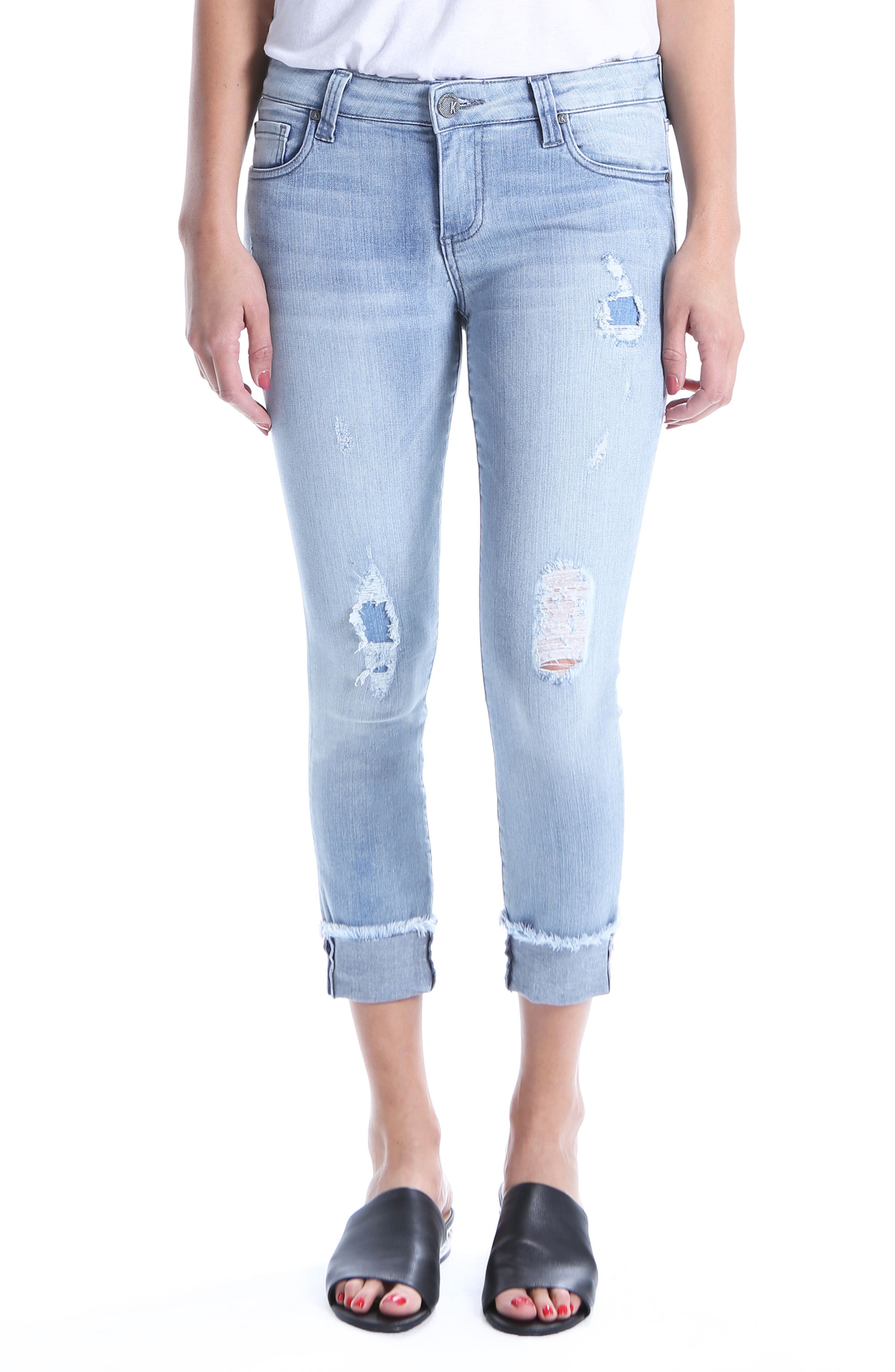 Kut From The Kloth Connie Distressed Frayed Hem Ankle Skinny Jeans, Blue