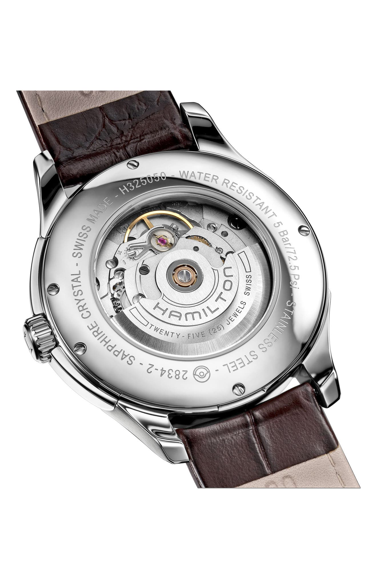 Jazzmaster Automatic Leather Strap Watch, 40mm,                             Alternate thumbnail 2, color,                             BROWN/ WHITE/ SILVER