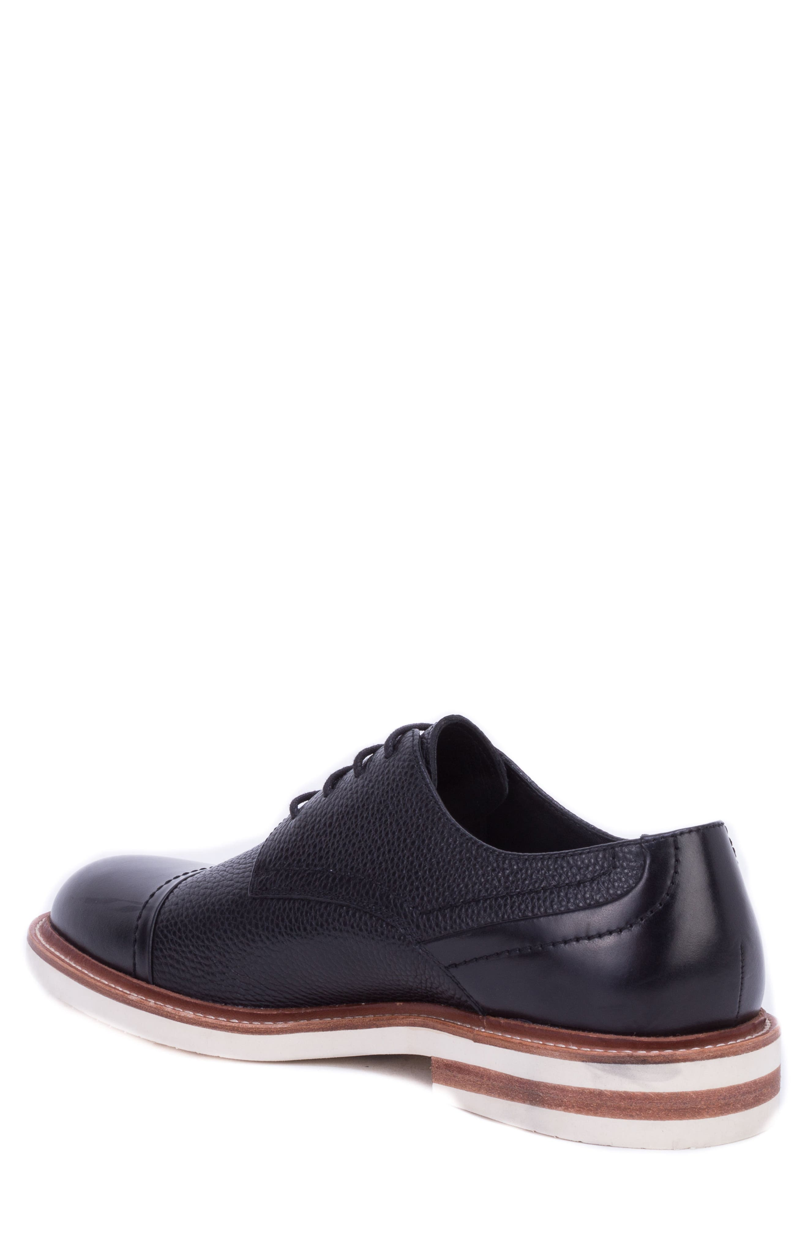 Wensley Cap Toe Derby,                             Alternate thumbnail 2, color,                             BLACK LEATHER