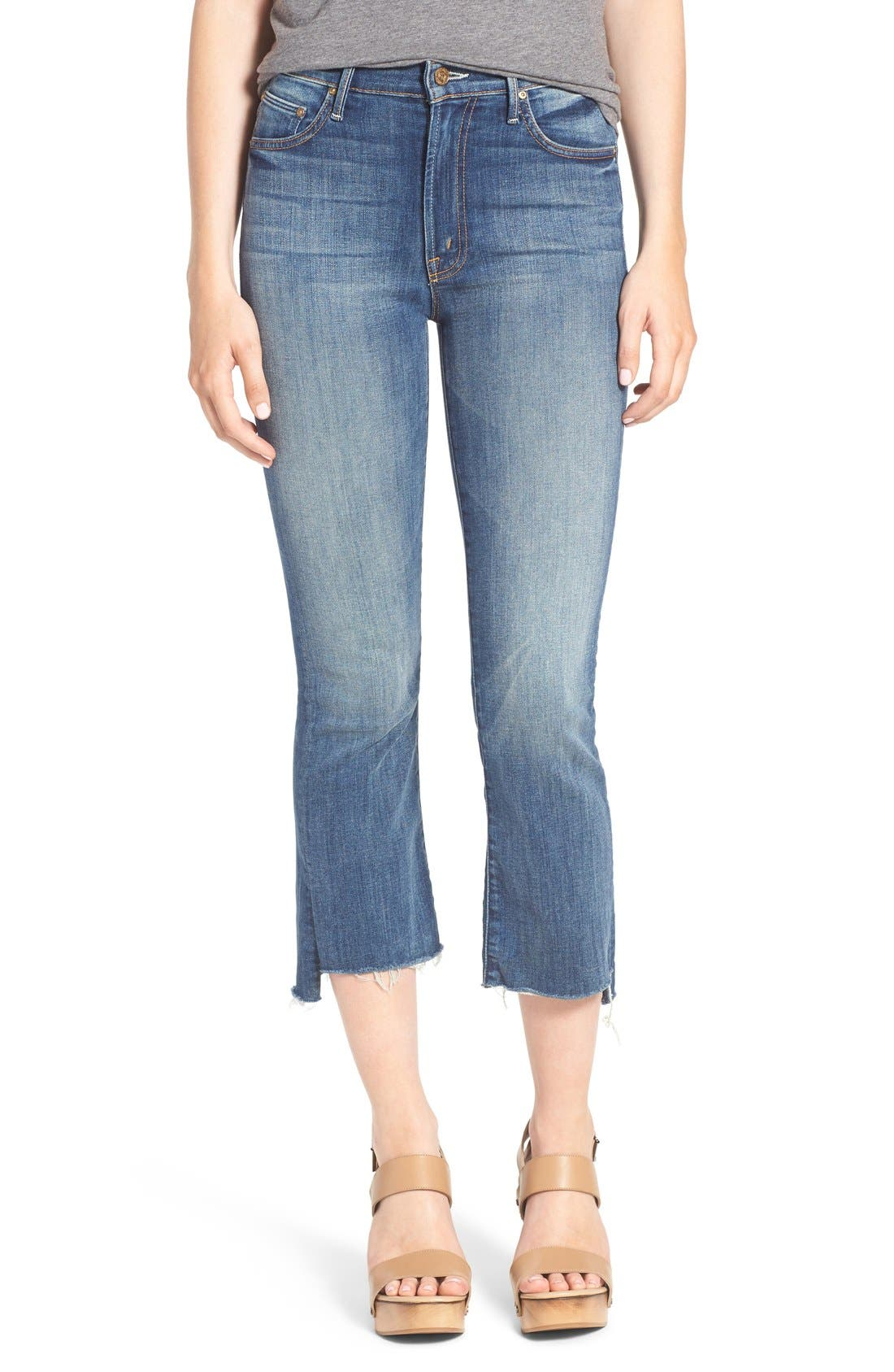 'The Insider' Crop Step Fray Jeans,                             Main thumbnail 1, color,                             420