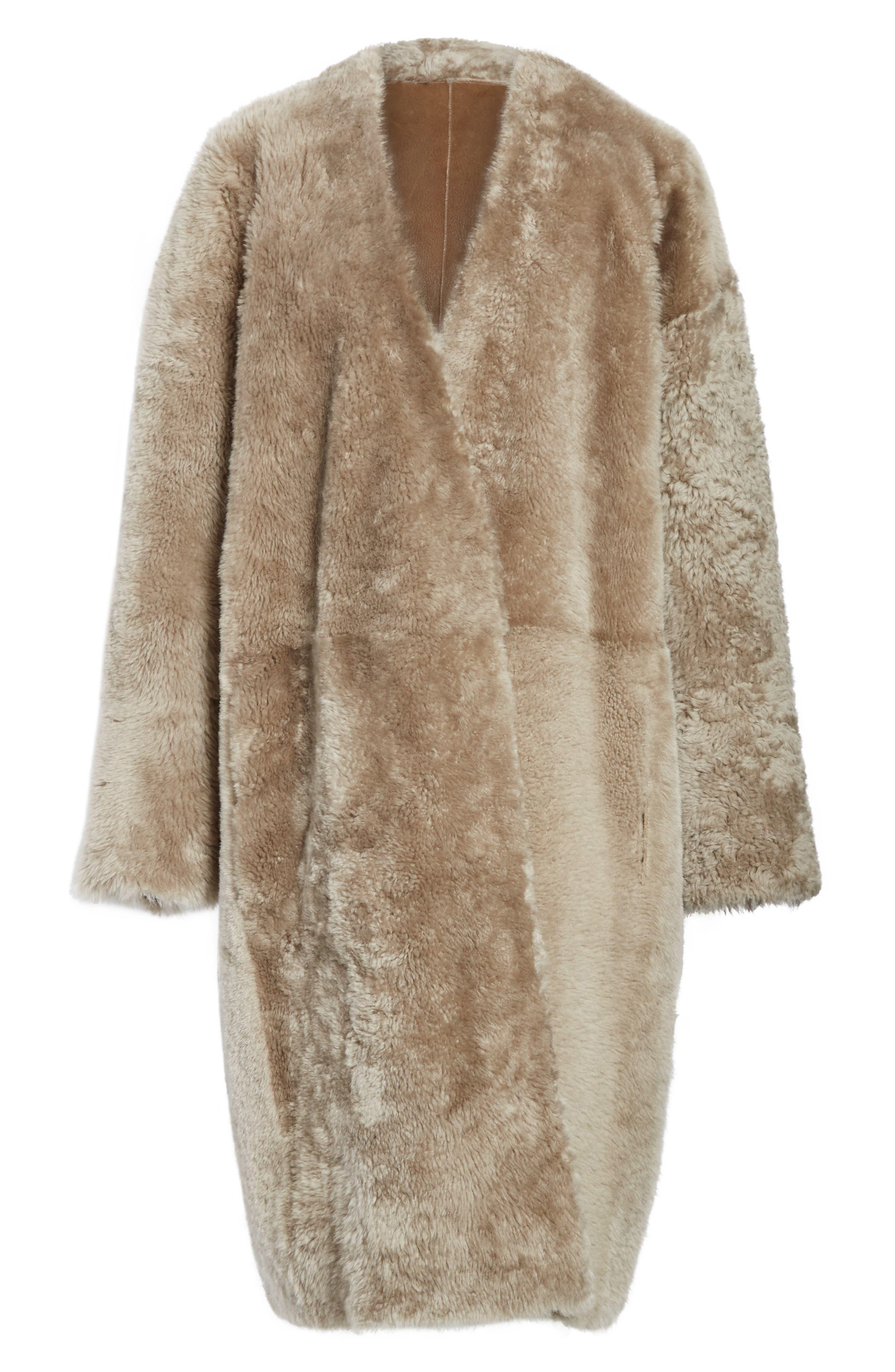 Genuine Shearling Reversible Coat,                             Alternate thumbnail 5, color,                             208